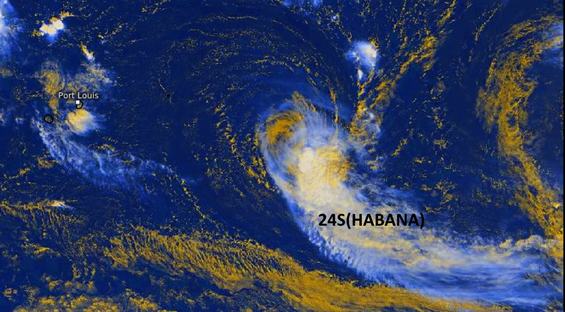 24S(HABANA). 15/0845UTC. MULTI SPECTRAL IMAGERY INDICATES  RAPIDLY-DECAYING DEEP CONVECTION SHEARING OVER THE SOUTHEAST  QUADRANT OF AN EXPOSED, WELL-DEFINED LOW-LEVEL CIRCULATION CENTER,  WHICH SUPPORTS THE INITIAL POSITION WITH GOOD CONFIDENCE. Eumetsat. Enhanced by PH.