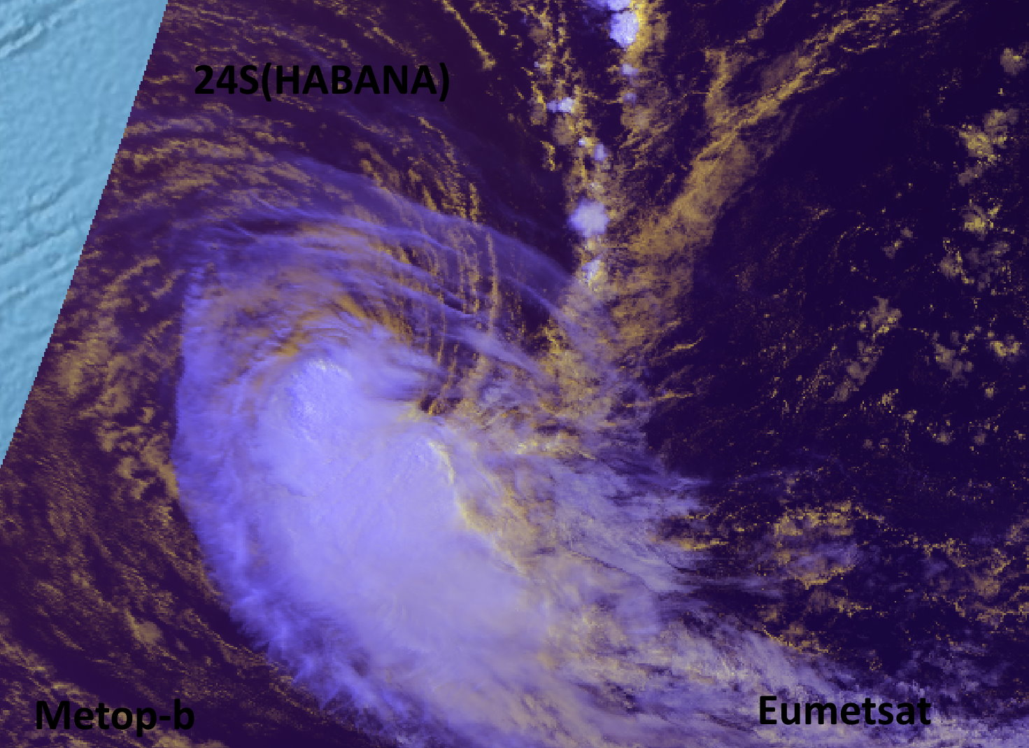 24S(HABANA). 15/0325UTC. METOP-B. THE LOW LEVEL CIRCULATION CENTER WAS ALREADY PARTLY EXPOSED. IT HAS GROWN INCREASINGLY EXPOSED SINCE THEN. Eumetsat.