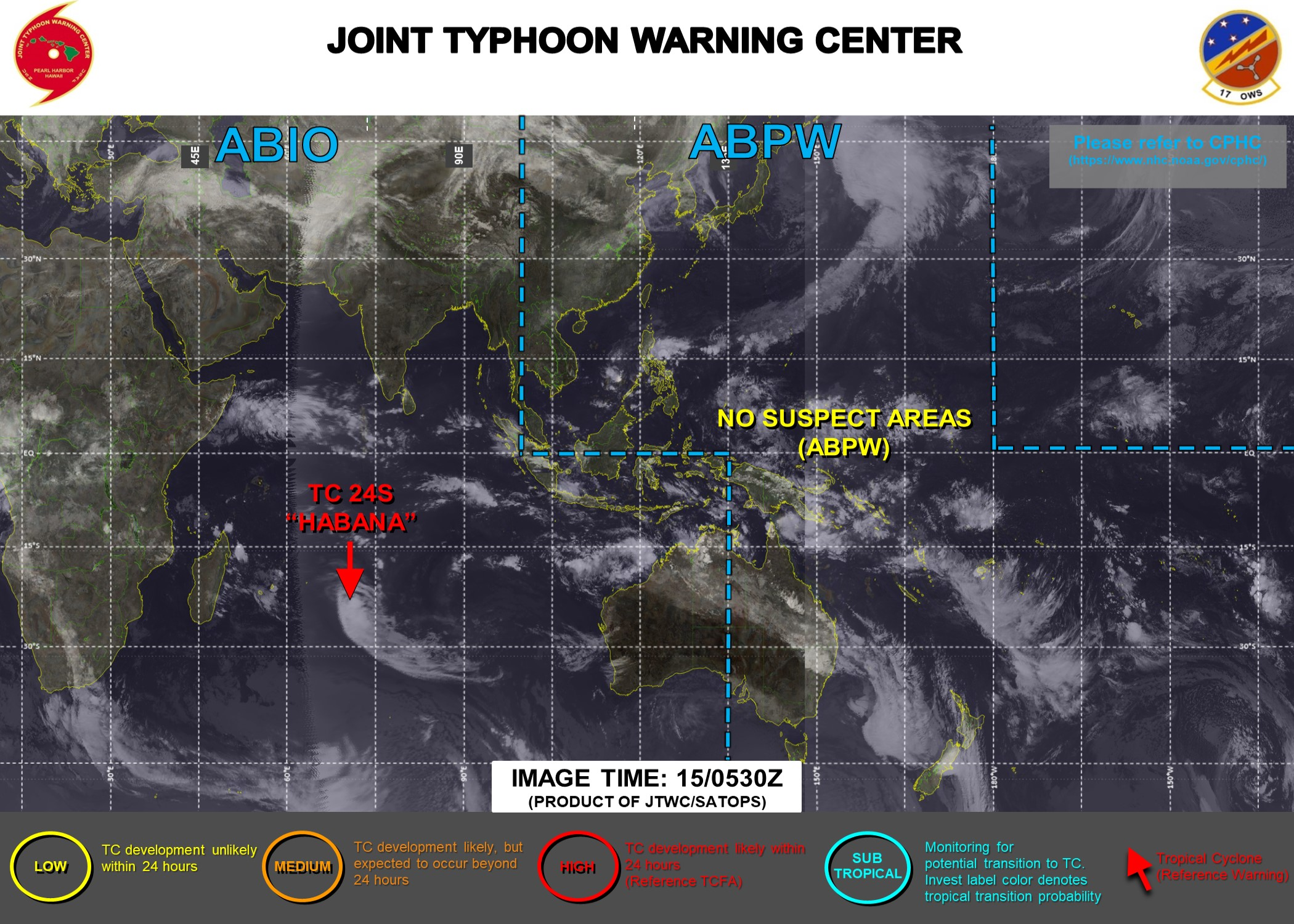 15/09UTC. JTWC HAS BEEN ISSUING 12HOURLY WARNINGS ON TC 24S(HABANA) ALONG WITH 3HOURLY SATELLITE BULLETINS.