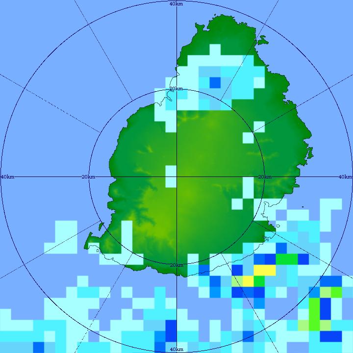 15/11h11. En cette fin de matinée le radar de TAC montre que les averses orageuses ont quitté l'île. Elles persistent à proximité immédiate des côtes Sud-Est. MMS/Vacoas.