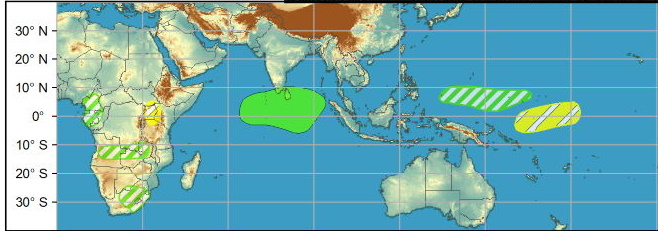WEEK2: For week-2, the greatest potential for TC formation is over the Bay of Bengal associated with Rossby wave activity predicted late in the outlook period. While there is modest support in probabilistic TC tools, there continues to be large ensemble spread and poor run-to-run continuity in the deterministic guidance. Given the uncertainty at this lead, and that tropical cyclogenesis is not climatologically favored in the northern Indian Ocean during late March, there is insufficient confidence to post a TC formation area at this time but this region will be monitored in subsequent outlooks.