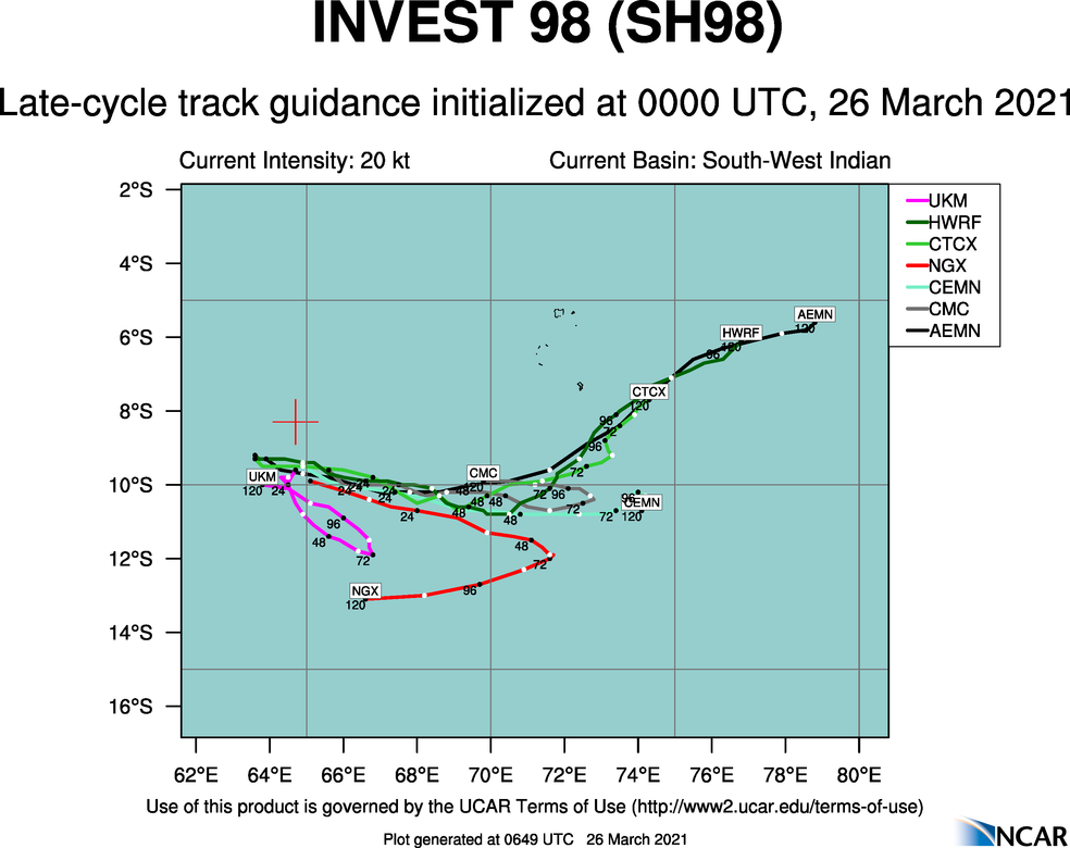 INVEST 98S. 98S IS CURRENTLY IN A FAVORABLE ENVIRONMENT WITH  POLEWARD OUTFLOW, WARM (29 TO 30 CELSIUS) SEA SURFACE TEMPERATURES,  AND LOW TO MODERATE (10 TO 20 KNOTS) VERTICAL WIND SHEAR (VWS).  GLOBAL MODELS ARE IN OVERALL DISAGREEMENT. THE SYSTEM IS EXPECTED TO  REMAIN QUASISTATIONARY FOR THE NEXT 24-48 HOURS.