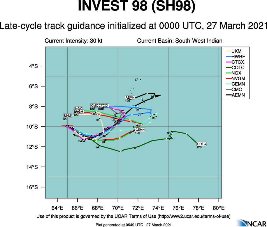 INVEST 98S. 98S IS CURRENTLY IN A FAVORABLE ENVIRONMENT WITH  GOOD POLEWARD OUTFLOW, MODERATE (15 TO 20 KNOTS) VERTICAL WIND SHEAR  (VWS) AND WARM (29 TO 30 CELSIUS) SEA SURFACE TEMPERATURES. GLOBAL  MODELS ARE IN OVERALL DISAGREEMENT OF BOTH TRACK AND POTENTIAL  TROPICAL DEVELOPMENT OVER THE NEXT 24-48 HOURS.