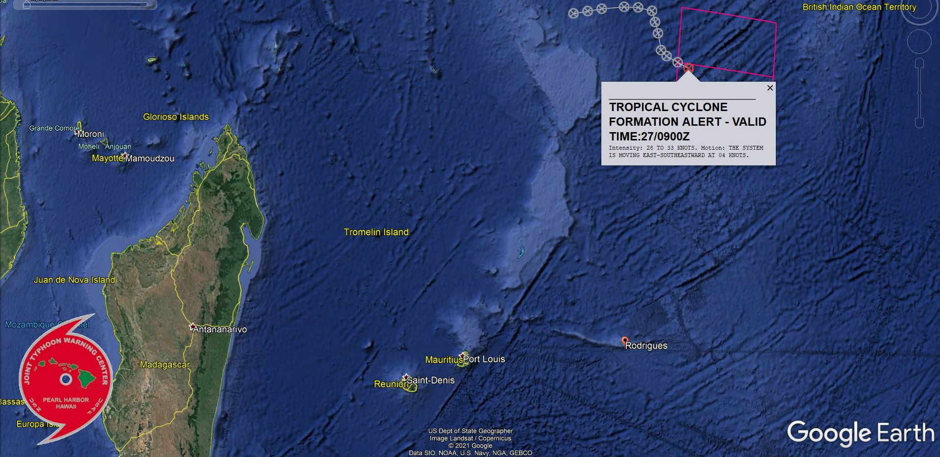 INVEST 98S. 27/09UTC. TCFA ISSUED: HIGH CHANCES OF REACHING 35KNOTS WITHIN 24HOURS.