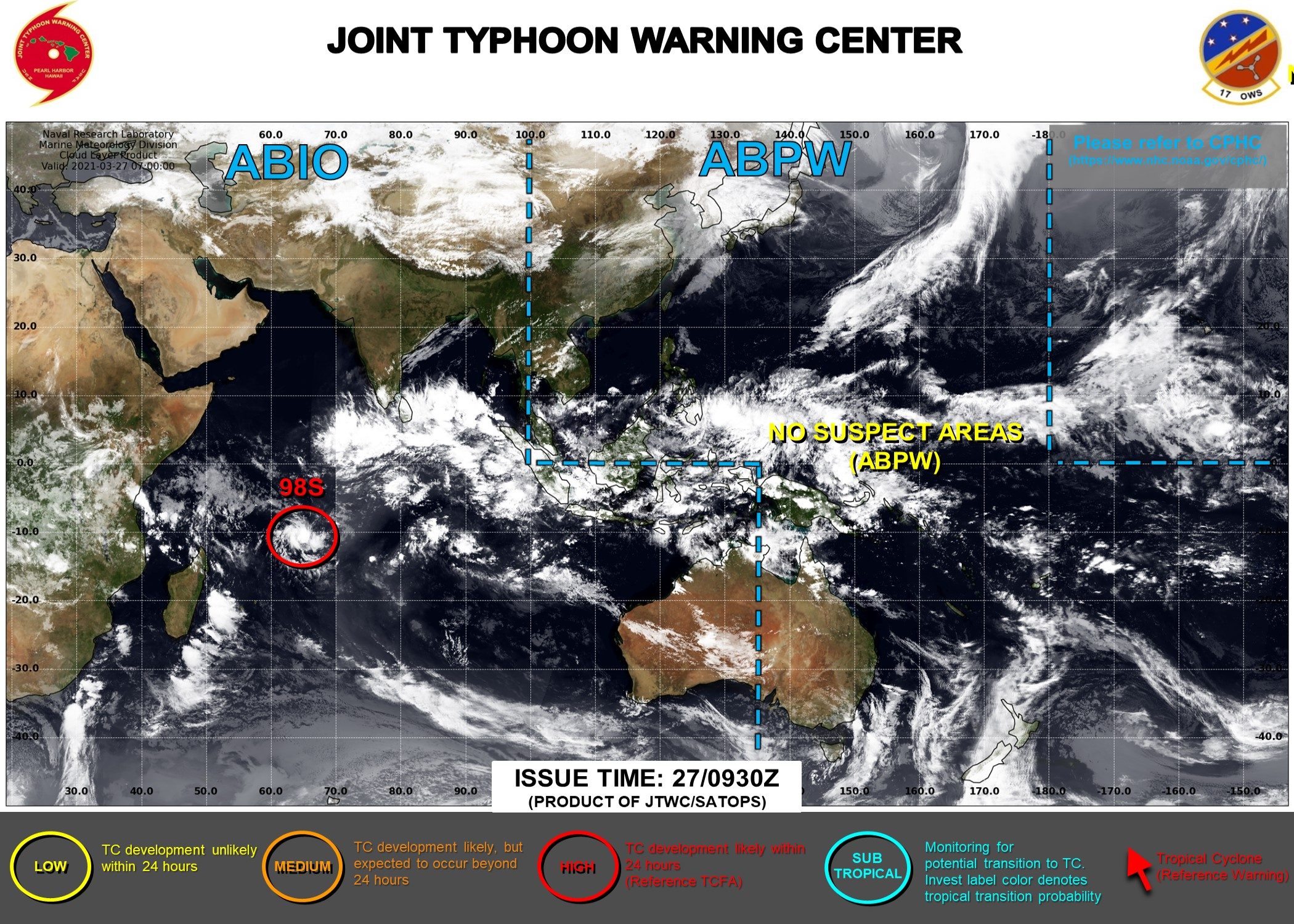 27/09UTC. INVEST 98S IS UP-GRADED TO HIGH FOR THE NEXT 24HOURS. JTWC HAS BEEN ISSUING 3HOURLY SATELLITE BULLETINS ON 98S. INVEST 95S IS WEAKENING AND HAS BEEN REMOVED FROM THE MAP. THE 3HOURLY SATELLITE BULLETINS WERE DISCONTINUED AT 27/0815UTC.