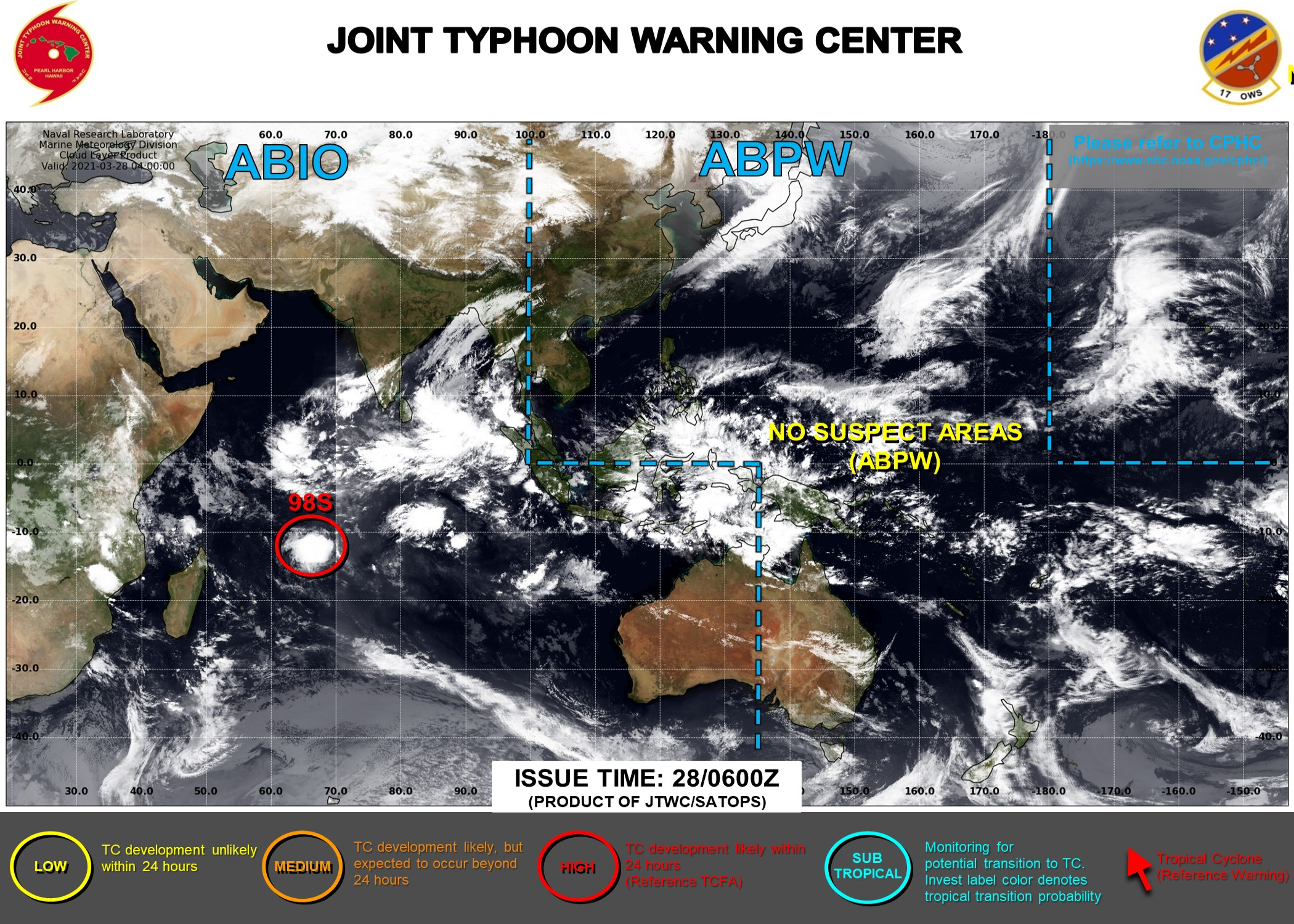 28/09UTC. INVEST 98S REMAINS HIGH. JTWC HAS BEEN ISSUING 3HOURLY SATELLITE BULLETINS ON THIS SYSTEM.