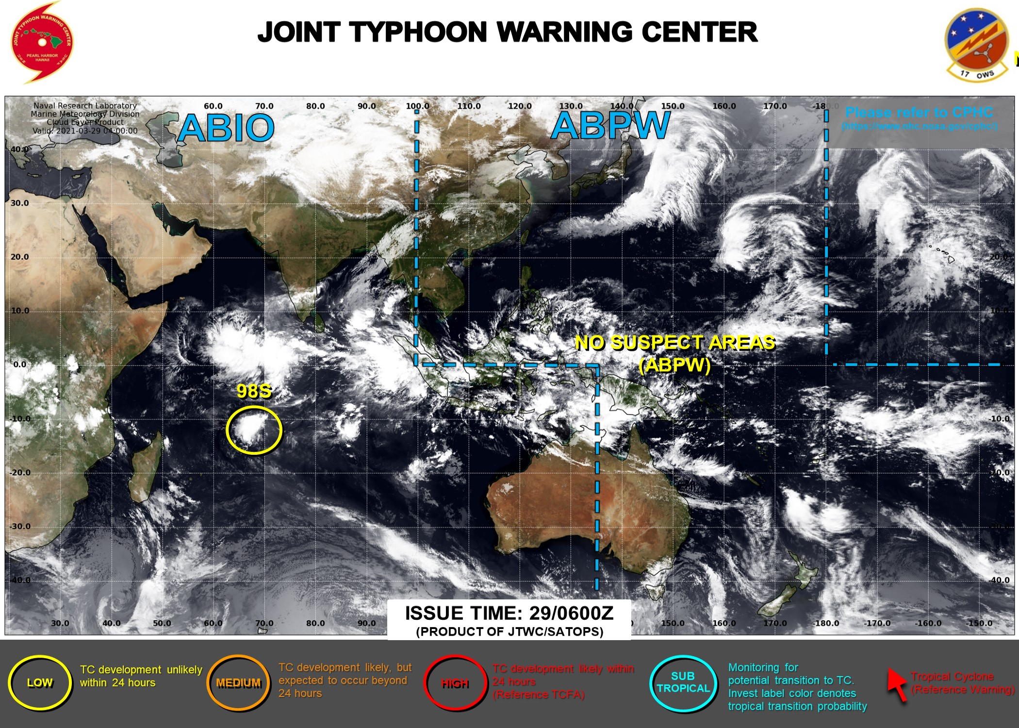 29/06UTC. JTWC IS STILL ISSUING 3HOURLY SATELLITE BULLETINS ON 98S.