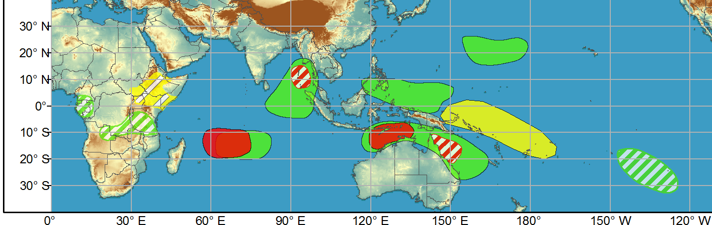 WEEK 1: 31/03 to 06/04. A convectively coupled Kelvin wave is forecast to pass through the MJO and the superposition of these waves will result in enhanced probabilities of tropical cyclone formation over the Indian Ocean during Week-1. There is evidence that La Nina is weakening, which is likely to be enhanced, at least temporarily, by the passage of the MJO over the Western and Central Pacific during the next two weeks.  There are several areas of possible tropical cyclone (TC) formation during Weeks-1 and 2. Due to the aforementioned superposition of the MJO and Kelvin wave, there is a high risk of TC development over the western Indian Ocean and a moderate risk for TC development in the Bay of Bengal during Week-1.