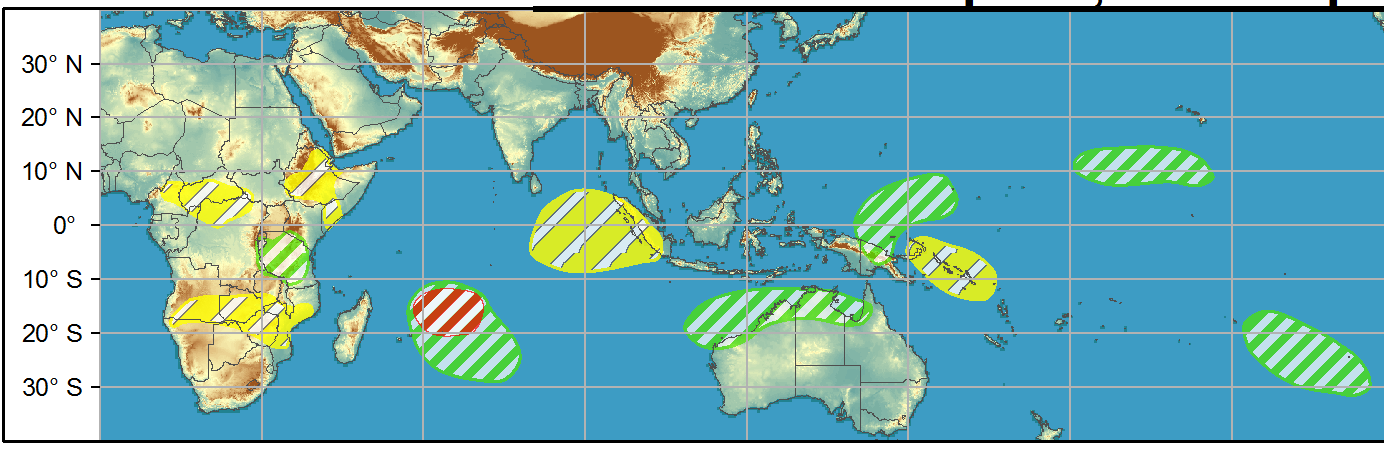 WEEK 2: 07/04 to 13/04.  A moderate risk over the western Indian Ocean continues into Week-2. There is also an MJO and Kelvin wave related risk of TC development during Week-1 along the coast of Northern Australia. Dynamical models suggest a high risk of TC formation along the Kimberley Coast and a moderate risk of TC formation further east.