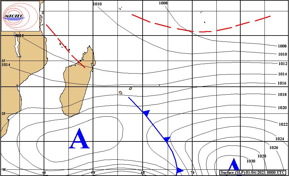 Analyse de la situation de surface ce Jeudi matin. Une cellule anticyclonique se rapproche par le Sud de MADA. Elle renforce temporairement et modérément les alizés sur les ILES SOEURS. De l'instablité est présente au Sud-Est des ILES SOEURS. Elle remonte un peu vers les régions de la RÉUNION et de MAURICE qui sont exposées au flux de Sud-Est à Est. RODRIGUES est dans une zone moins humide. Au Nord de nos îles l'activité convective est manifeste mais reste stérile pour le moment au niveau des éventuelles cyclogenèses. Carte de MTOTEC.