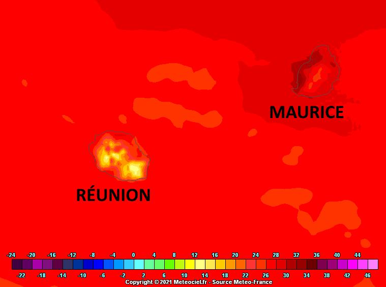 """Vendredi les maximales sont dans l'ensemble supérieures aux normales sur le littoral mauricien. On """"respire"""" sensiblement mieux à la RÉUNION. Arome. MFRANCE. MCIEL."""