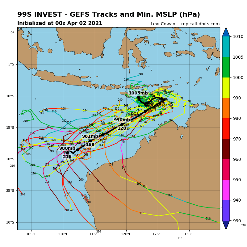 INVEST 99S. 99S IS EMBEDDED IN A FAVORABLE ENVIRONMENT WITH LIGHT  NORTHERLY VERTICAL SHEAR OF 10 KTS, WARM SEA SURFACE TEMPERATURES OF  30C, AND DEEP-LAYER MOISTURE. DYNAMICAL MODELS SUPPORT CONTINUED  CONSOLIDATION OF THE BROAD CIRCULATION INTO A TROPICAL CYCLONE SOUTH  OF TIMOR-LESTE IN 24-48 HOURS.
