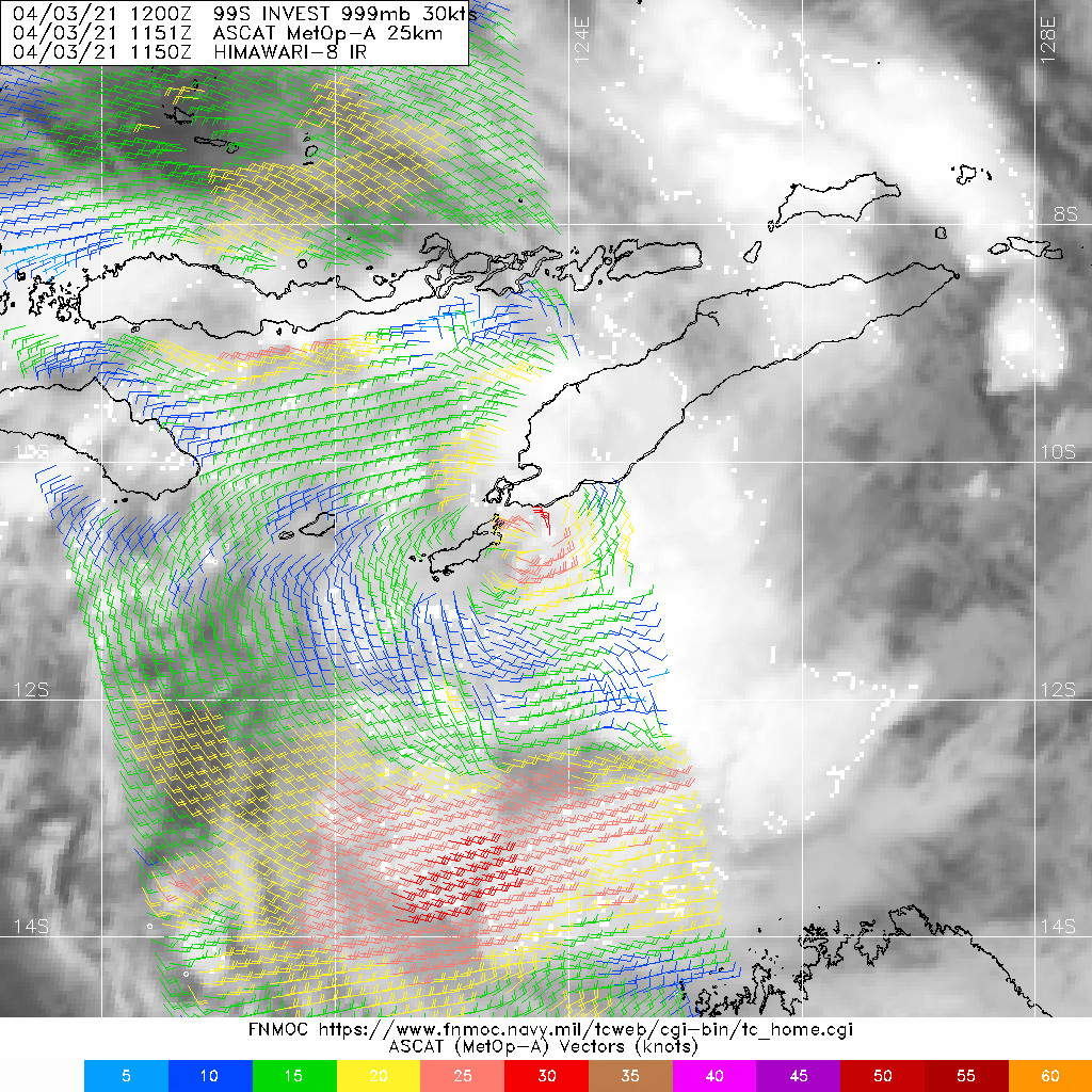 INVEST 99S. A 031150Z METOP-A ASCAT PASS  REVEALS A TIGHT LLCC WITH A SMALL, BUT ENHANCED, WIND FIELD OF 20 TO  30 KNOTS WITH A COUPLE 35 KNOT WIND BARBS TO THE NORTH.