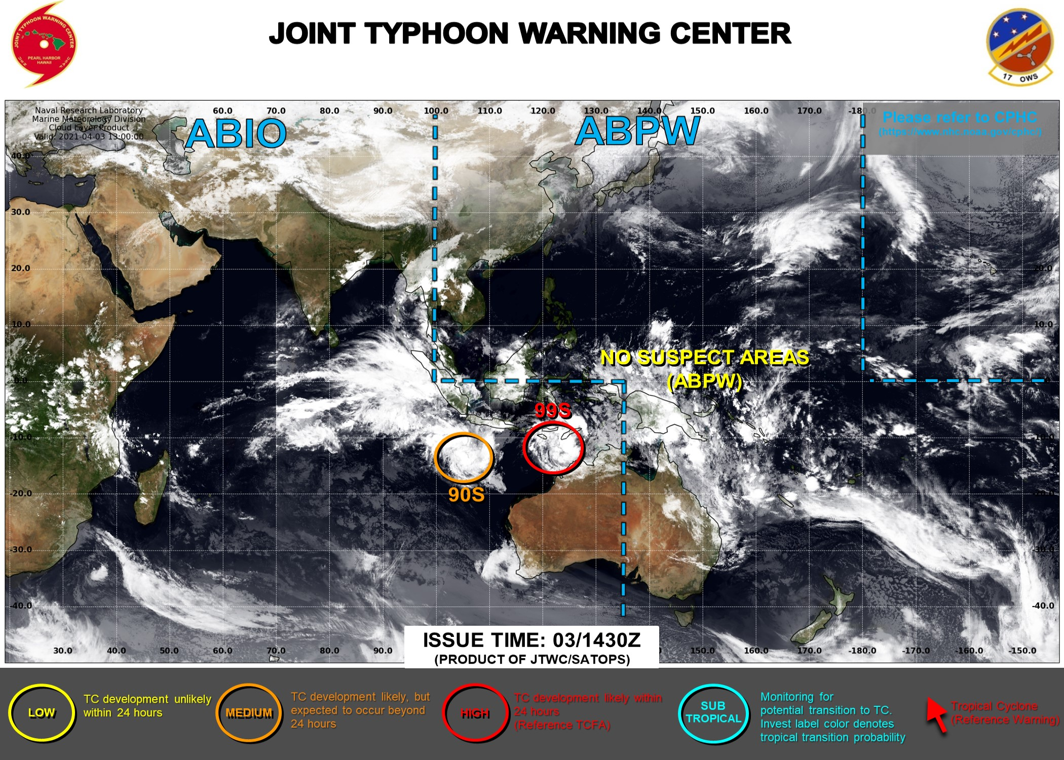 03/1430UTC. INVEST 99S IS UP-GRADED TO HIGH: HIGH CHANCES OF REACHING 35KNOTS WITHIN 24H. INVEST 90S IS UP-GRADED TO MEDIUM. JTWC HAS BEEN ISSUING 3HOURLY SATELLITE BULLETINS ON 99S.
