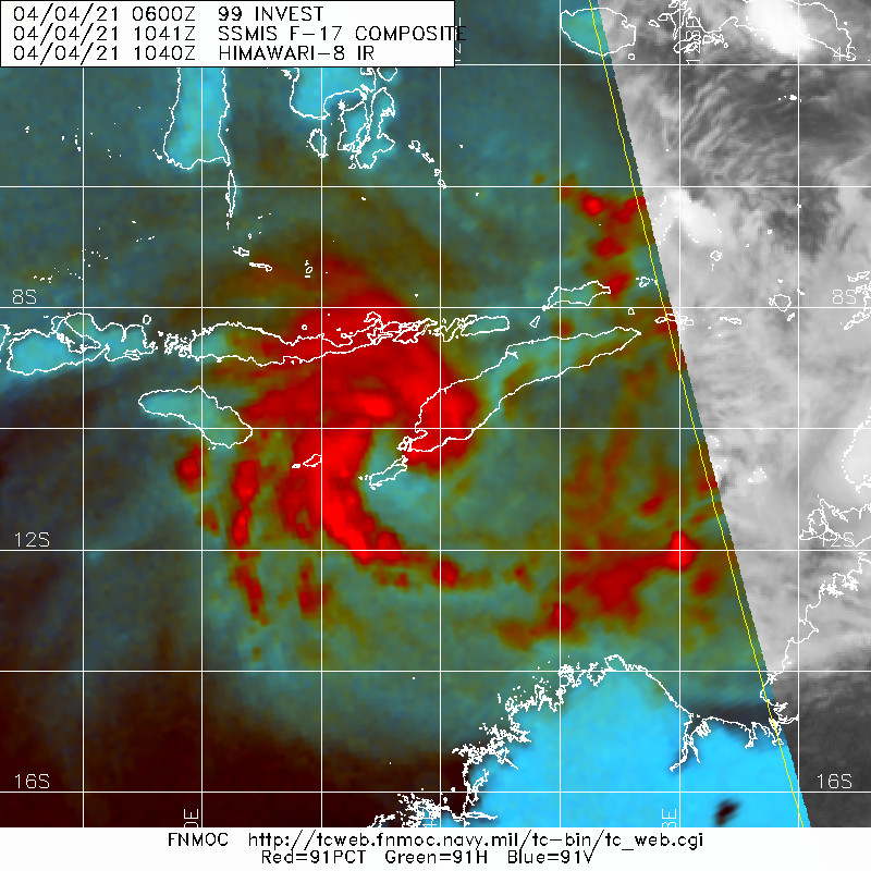 TC 26S. 04/1041UTC. MICROWACE DEPITS A BROAD SYSTEM CONSOLIDATING WITH  FORMATIVE BANDS WRAPPING TIGHTER INTO THE CENTER.