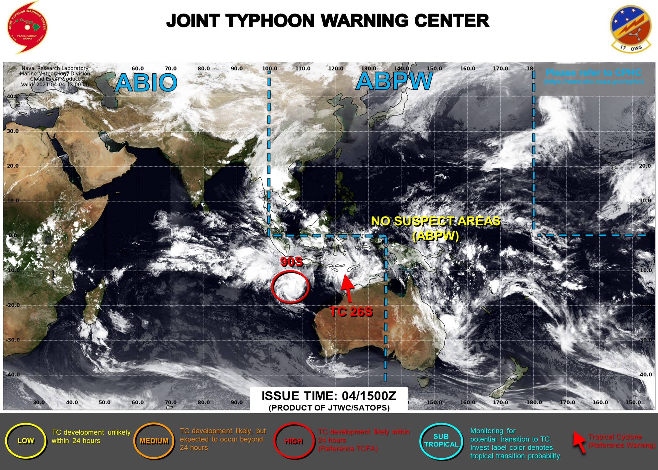 04/15UTC. INVEST 99S IS NOW TC 26S WITH 35KNOT WINDS. INVEST 90S WAS UP-GRADED TO HIGH AT 04/08UTC. JTWC IS ISSUING 6 HOURLY WARNINGS ON 26S AND 3HOURLY SATELLITE BULLETINS ON BOTH SYSTEMS.