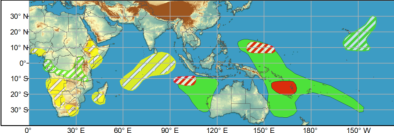 WEEK 1. 7 to 13 April. A couple of tropical cyclones (TCs) developed over the South Indian Ocean at the beginning of April and the MJO likely contributed to the genesis of these TCs. Tropical Cyclone 27S (centered at 16.2S/105.8E on Apr 7) is forecast to remain nearly stationary during the next 72 hours and then dissipate. The Joint Typhoon Warning Center calls for Tropical Cyclone Seroja, at 11.5S/118.9E, to strengthen with maximum sustained winds reaching 105 knots as it tracks southwest and parallels the Kimberley Coast of Australia. Later in week-1, TC Seroja could make landfall in Western Australia. Just to the west of these ongoing TCs, deterministic model runs continue to indicate that another TC may form early in week-1. Based on a favorable large-scale environment with the enhanced phase of the MJO crossing the West Pacific and support from model guidance, a high confidence or TC development exists over the Coral Sea during week-1.
