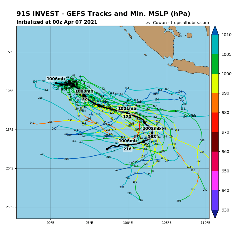 INVEST 91S. INVEST 91S IS IN A MARGINAL ENVIRONMENT  FOR TROPICAL DEVELOPMENT WITH GOOD POLEWARD OUTFLOW ALOFT AND WARM  (29-30C) SEA SURFACE TEMPERATURES OFFSET BY STRONG (20-25KTS)  VERTICAL WIND SHEAR (VWS). GLOBAL MODELS ARE IN GOOD AGREEMENT THAT  INVEST 91S WILL CONSOLIDATE AND INTENSIFY OVER THE NEXT 24-48 HOURS  AS IT TRACKS TO THE SOUTHEAST UNDER AN AREA OF LOW (10-15KTS) VWS.