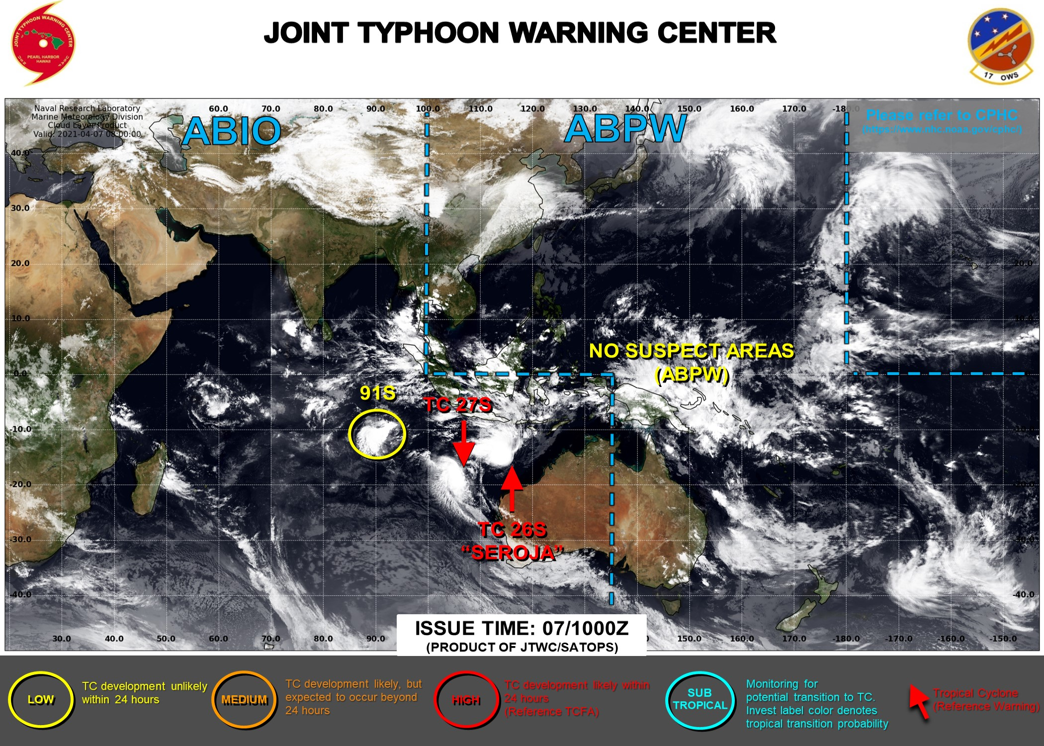 07/10UTC. JTWC IS ISSUING 6HOURLY WARNINGS ON 26S(SEROJA) AND 27S. 3HOURLY SATELLITE BULLETINS ARE ISSUED FOR BOTH SYSTEMS. INVEST 91S IS NOW ON THE MAP WITH CURRENTLY LOW CHANCES OF REACHING 35KNOTS WITHIN 24HOURS.