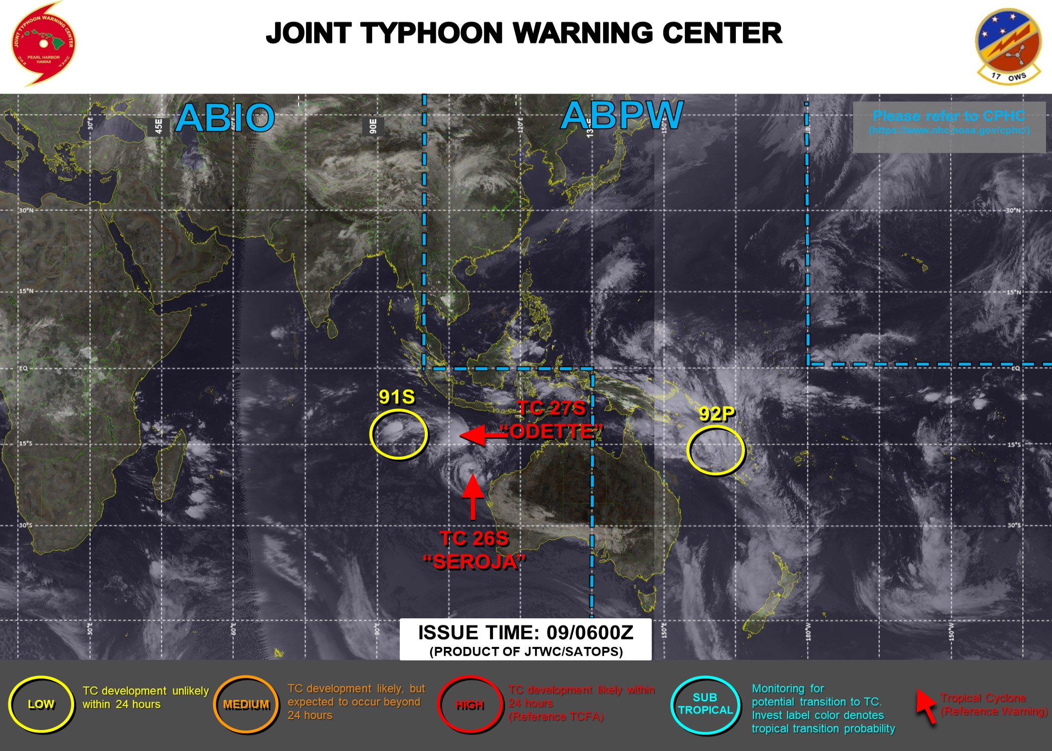 09/09UTC. JTWC IS ISSUING 6HOURLY WARNINGS ON 26S(SEROJA) AND 27S( ODETTE). 3HOURLY SATELLITE BULLETINS ARE ISSUED FOR THE FOUR SYSTEMS.