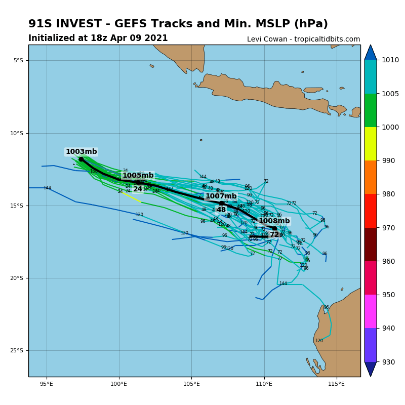 INVEST 91S. INVEST 91S IS IN A MARGINAL ENVIRONMENT  FOR TROPICAL DEVELOPMENT WITH MINIMAL POLEWARD OUTFLOW AND MODERATE  (15-20KTS) VERTICAL WIND SHEAR OFFSET BY WARM (28-29C) SEA SURFACE  TEMPERATURES. GLOBAL MODELS ARE IN GENERAL AGREEMENT THAT INVEST 91S  WILL INTENSIFY SLIGHTLY OVER THE NEXT 48-72 HOURS AS IT TRACKS TO  THE SOUTHEAST.
