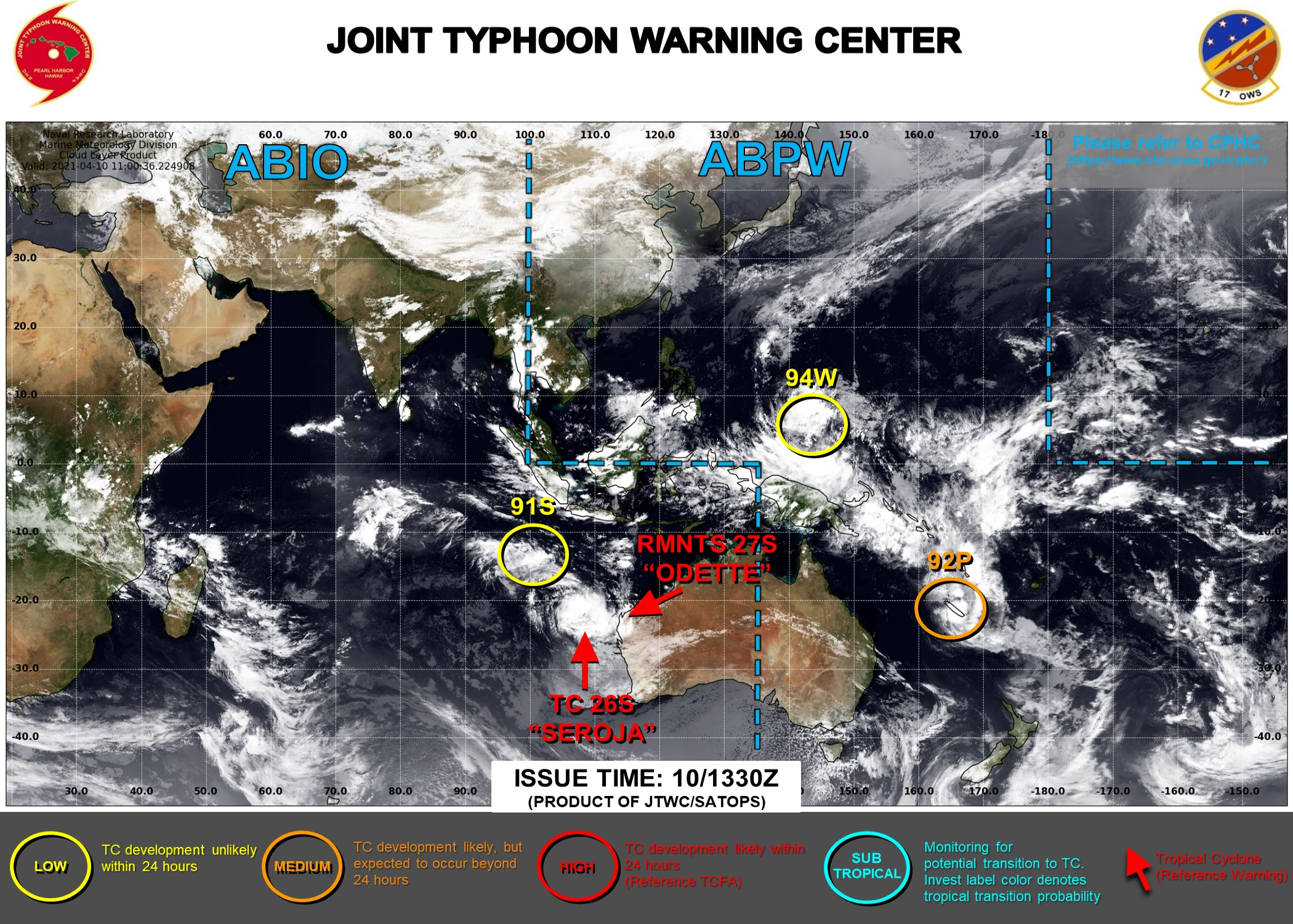 THE JTWC IS ISSUING 6HOURLY WARNINGS ON TC 26S(SEROJA). FINAL WARNING WAS ISSUED AT 10/09UTC ON TC 27S(ODETTE). 3HOURLY SATELLITE BULLETINS ARE ISSUED FOR 26S,27S,92P,91S. INVEST 94W IS NOW ON THE MAP WITH LOW CHANCES OF REACHING 25KNOTS WITHIN 24HOURS.