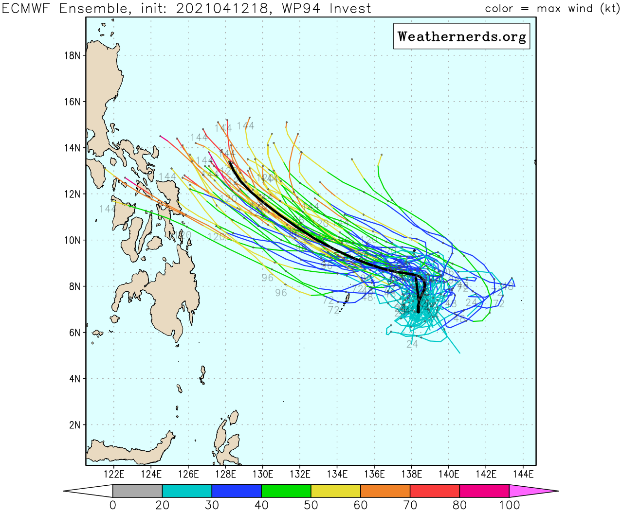 INVEST 94W. GLOBAL MODELS ARE IN AGREEMENT THAT  INVEST 94W WILL CONTINUE TO TRACK NORTHWESTWARD, CONSOLIDATE AND  STRENGTHEN FOR THE NEXT 48-96 HOURS. MODEL ENSEMBLE: ECMWF