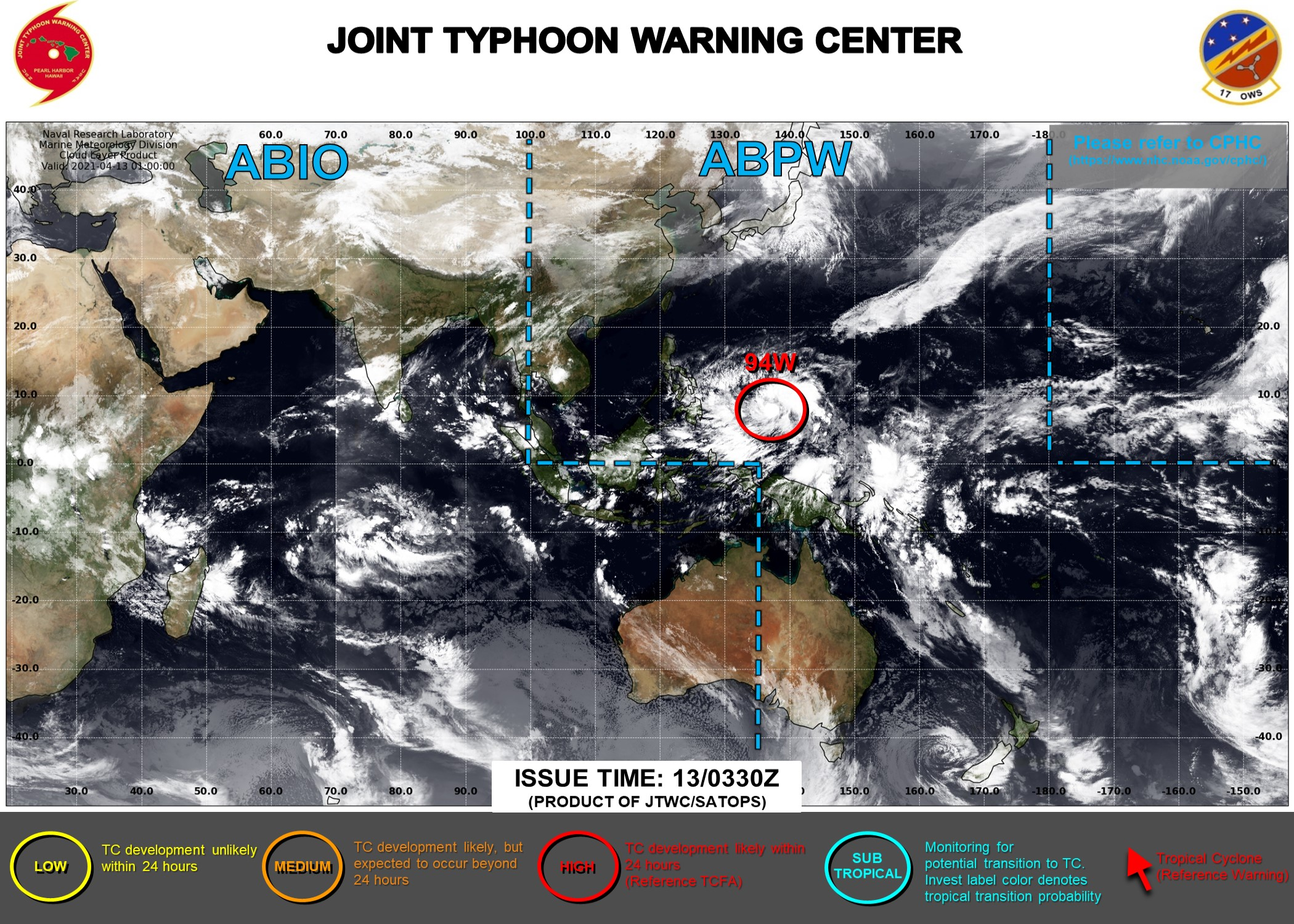 13/03UTC. INVEST 94W REMAINS HIGH FOR THE NEXT 24H. 3HOURLY SATELLITE BULLETINS ARE ISSUED ON THE SYSTEM BY THE JTWC.
