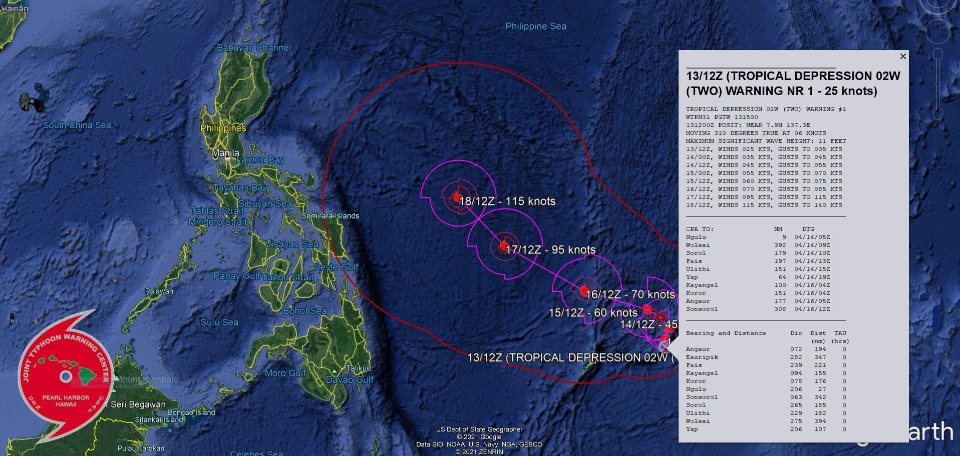 INVEST 94S IS NOW TD 02W. WARNING 1 ISSUED AT 13/15UTC.ANALYSIS INDICATES A FAVORABLE ENVIRONMENT  INCLUDING ROBUST RADIAL OUTFLOW WITH A STRONG POLEWARD BIAS, LOW (05- 10KT) VERTICAL WIND SHEAR, AND VERY WARM (30-31C) SEA SURFACE  TEMPERATURE IN THE PHILIPPINE SEA. THE CYCLONE IS TRACKING  ALONG  THE NORTHWEST PERIPHERY OF A LOW REFLECTION OF THE NEAR EQUATORIAL  RIDGE TO THE EAST-SOUTHEAST. TD 02W WILL TRACK SLOWLY NORTHWARD OR MAY EVEN BECOME QUASI- STATIONARY OVER THE NEXT 24HRS AS A SUBTROPICAL RIDGE (STR) TO THE  NORTHWEST BUILDS AND COMPETES FOR STEERING. AFTERWARD, A MIDLATITUDE  TROUGH DIGGING IN FROM CHINA WILL BREAK THE RIDGE. THE EASTERN SIDE  OF THE STR TO THE NORTHEAST WILL ASSUME STEERING AND DRIVE TD 02W  NORTHWESTWARD. THE AFOREMENTIONED FAVORABLE ENVIRONMENT WILL PROMOTE  STEADY INTENSIFICATION TO 70KTS/US CAT 1 BY 72H.  AFTER 72H, TD 02W WILL CONTINUE NORTHWESTWARD TOWARD THE  BREAK IN THE RIDGE UNDER THE STEERING INFLUENCE OF THE SAME STR. A  RAPID INTENSIFICATION IS EXPECTED AS THE FAVORABLE CONDITIONS ARE  FURTHER ENHANCED BY INCREASED POLEWARD OUTFLOW. BY 120H, TD 02W  WILL SURGE TO 115KNOTS/US CAT 4, POSSIBLY HIGHER.