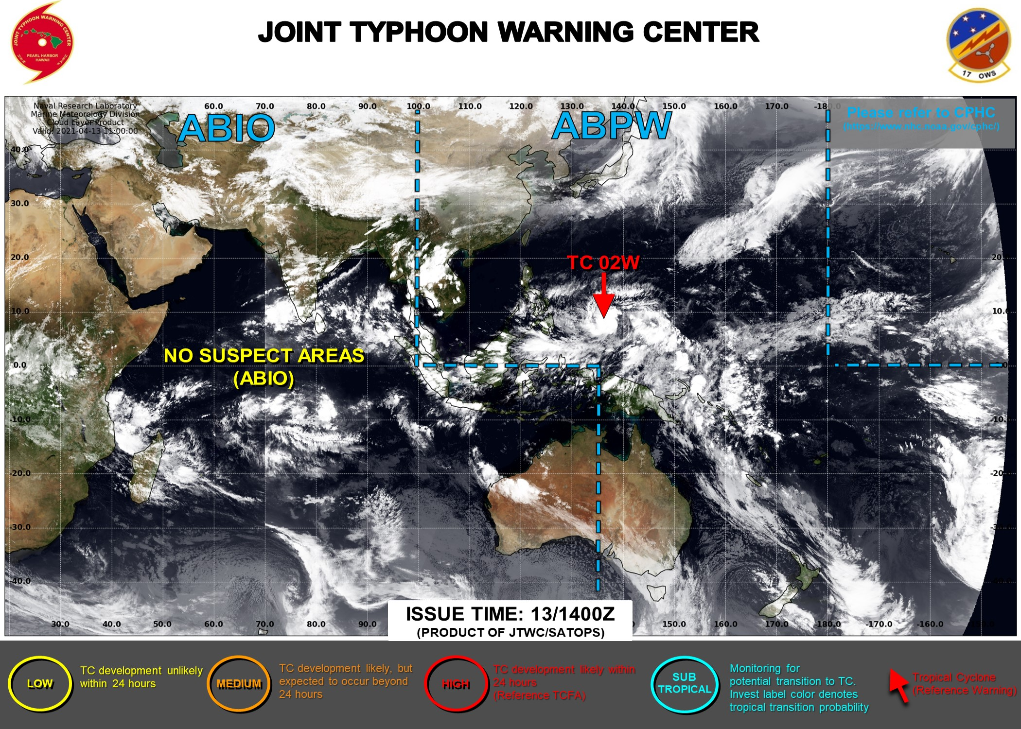 13/15UTC. INVEST 94W HAS REACHED 25KNOTS AND IS NOW TD 02W . JTWC IS ISSUING 6HOURLY WARNINGS ALONG WITH 3HOURLY SATELLITE BULLETINS ON TD 02W.