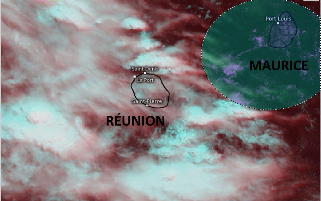 Météosat-8 à 11h45. MAURICE est en marge de l'instabilité. Le ciel de la RÉUNION est nettement plus encombré à tous les étages: les nuages de haute altitude étant secondés par des entrées maritimes pluvieuses sur la façade orientale alors que l'évolution diurne est susceptible de donner quelques bonnes averses sur les pentes Ouest et Sud ce Mercredi après-midi. Eumetsat. WUS/PH.