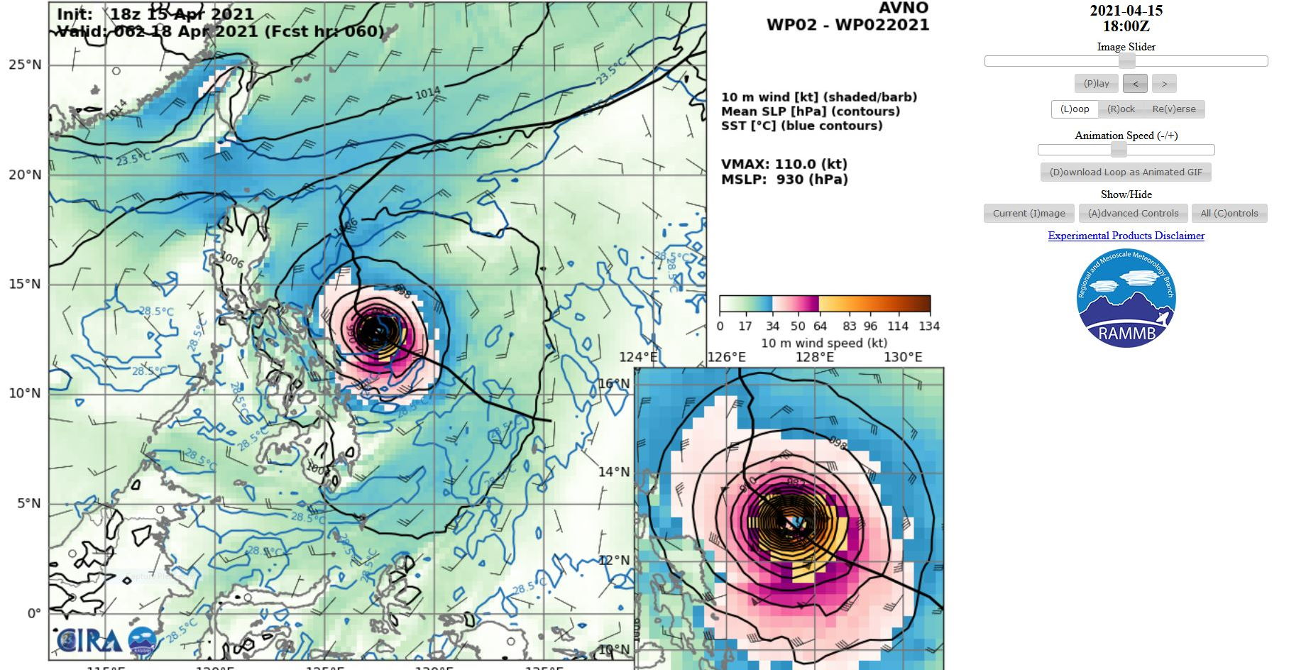 02W(SURIGAE). 15/18UTC. AVN INTENSITY GUIDANCE. PEAK INTENSITY AT +60H= 110KNOTS/930HPA. USUALLY THE ACTUAL PEAK INTENSITY IS ABOVE THE AVN SOLUTION.