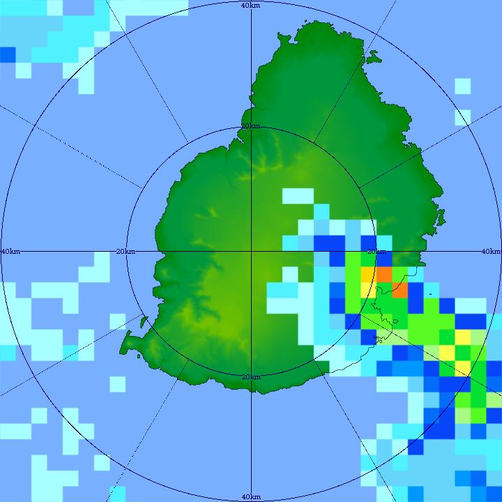 """Image zoomée(40km) du radar de TAC à 10h21 ce Vendredi matin. On note la couleur """"orange foncé"""" à proximité Nord de Plaisance. Le radar lit alors des précipitations de très forte intensité(entre 80 et 100mm par heure). MMS/Vacoas."""