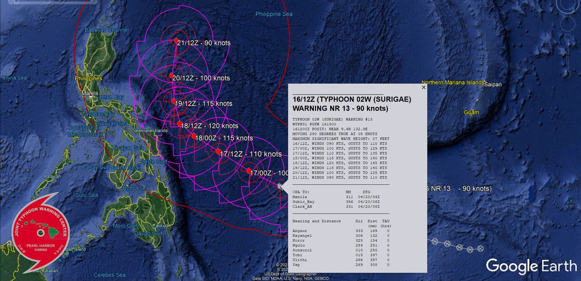 02W(SURIGAE). WARNING 13 ISSUED AT 16/15UTC.ENVIRONMENTAL ANALYSIS INDICATES FAVORABLE CONDITIONS FOR CONTINUED INTENSIFICATION WITH LOW  VERTICAL WIND SHEAR, ROBUST EQUATORWARD AND IMPROVING POLEWARD  OUTFLOW ALOFT, AND WARM (29-30C) SEA SURFACE TEMPERATURES (SST) IN  THE PHILIPPINE SEA. TY 02W IS CURRENTLY TRACKING TOWARDS A WEAKNESS  IN THE STEERING SUBTROPICAL RIDGE (STR) CAUSED BY AN APPROACHING MID- LATITUDE TROUGH.TY 02W IS FORECAST TO TRACK TO THE NORTHWEST TOWARD THIS  WEAKNESS IN THE STR THROUGH 48H. BY 48H THE STR TO THE EAST  BUILDS AND TAKES OVER AS THE PRIMARY STEERING MECHANISM, CAUSING TY  02W TO TURN NORTHWARD. THE SYSTEM WILL STEADILY INTENSIFY DUE TO  ROBUST UPPER-LEVEL OUTFLOW AMPLIFIED BY THE MID-LATITUDE TROUGH WITH  TY 02W REACHING PEAK INTENSITY OF 120KNOTS/CAT 4 BY 48H.  AFTER 72H, TY SURIGAE CONTINUES TO TRACK NORTHWARD ALONG  THE WESTERN PERIPHERY OF THE STR TO THE EAST. THE ENVIRONMENTAL  CONDITIONS WILL BECOME LESS FAVORABLE AS THE AMOUNT OF UPPER-LEVEL  DIVERGENCE DECREASES SIGNIFICANTLY BY 96H CAUSING THE SYSTEM TO  DECREASE TO 90KNOTS/CAT 2 BY 120H.