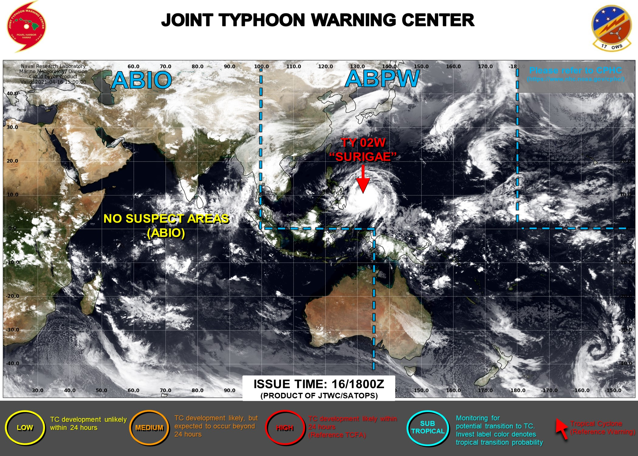 17/03UTC. THE JTWC HAS BEEN ISSUING 6HOURLY WARNINGS ON 02W(SURIGAE) AND 3HOURLY SATELLITE BULLETINS.
