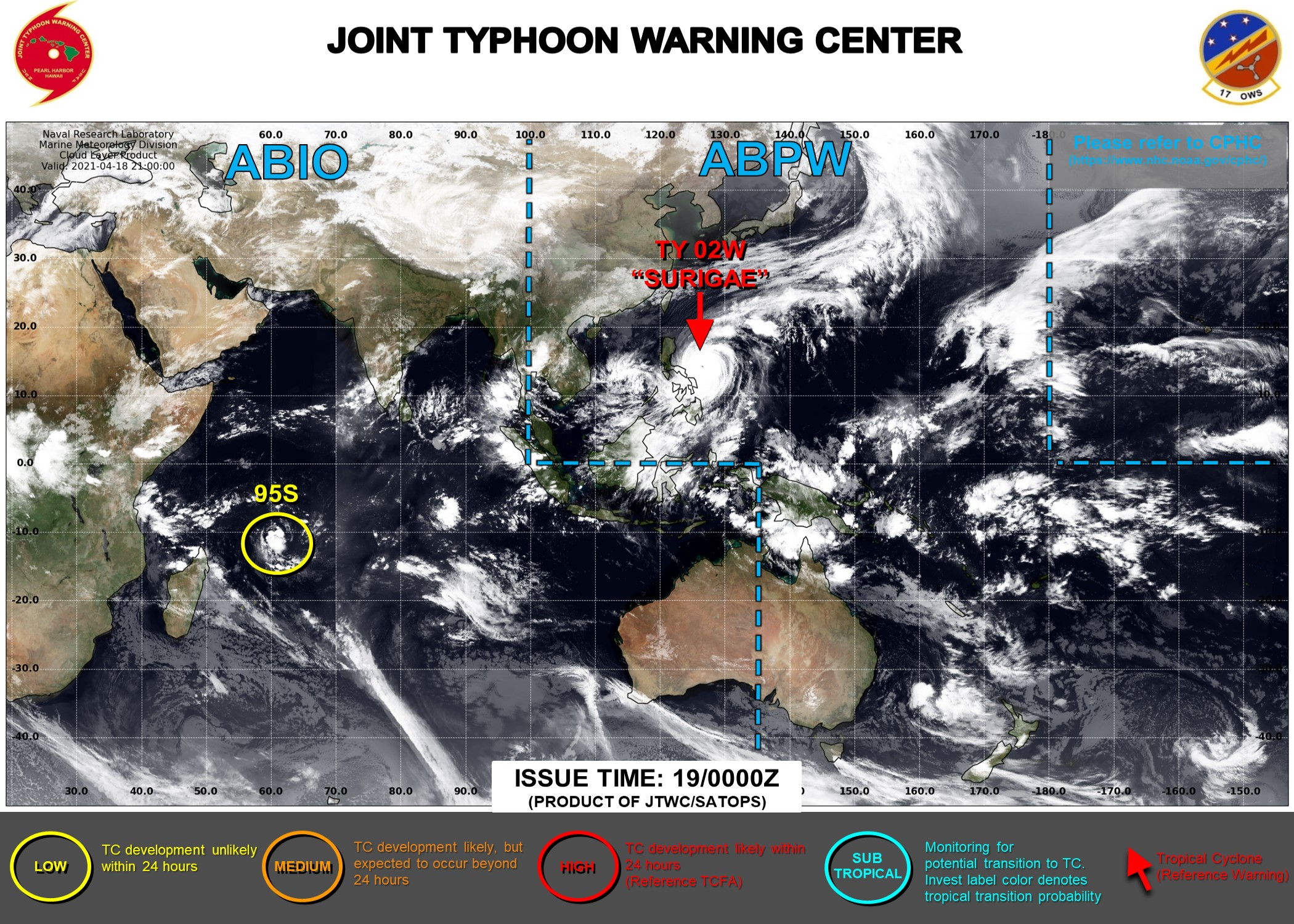 19/03UTC. THE JTWC HAS BEEN ISSUING 6HOURLY WARNINGS ON 02W(SURIGAE) AND 3HOURLY SATELLITE BULLETINS. OVER THE SOUTH IDNIAN OCEAN INVEST 95S IS NOW ON THE MAP ASSESSED AS HAVING LOW CHANCES OF REACHING 35KNOTS WITHIN THE NEXT 24HOURS.