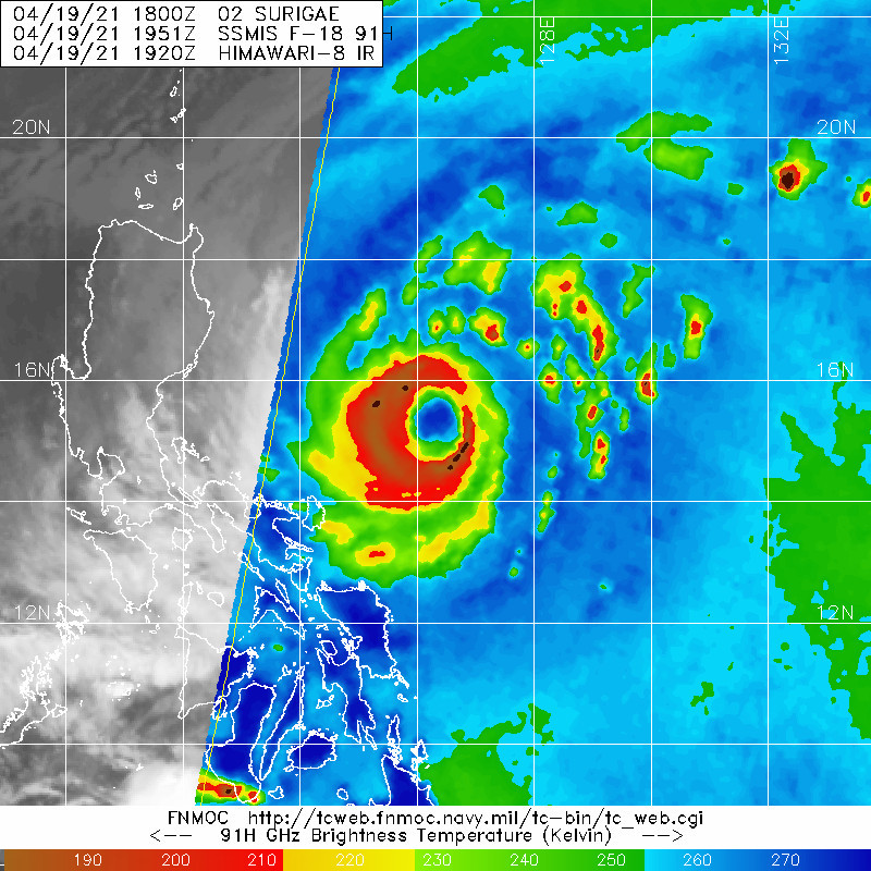 02W(SURIGAE). 19/1951UTC.CONTINUES TO MAINTAIN A LARGE, CLEARLY-DEFINED  EYE OF 55 KM DIAMETER IN ANIMATED ENHANCED INFRARED (EIR) SATELLITE  IMAGERY. SOME EROSION OF DEEP CONVECTION IN THE INNER CORE HAS BEEN  NOTED OVER THE PAST SIX HOURS, PERIODICALLY CAUSING THE APPEARANCE  OF A DRY MOAT BETWEEN THE 55 KM EYEWALL AND A LARGER, OUTER RING OF  DEEP CONVECTION APPROXIMATELY 95 KM IN DIAMETER. THIS OUTER RING  APPEARS TO BE THE DOMINANT FEATURE IN THIS MICROWAVE IMAGE.