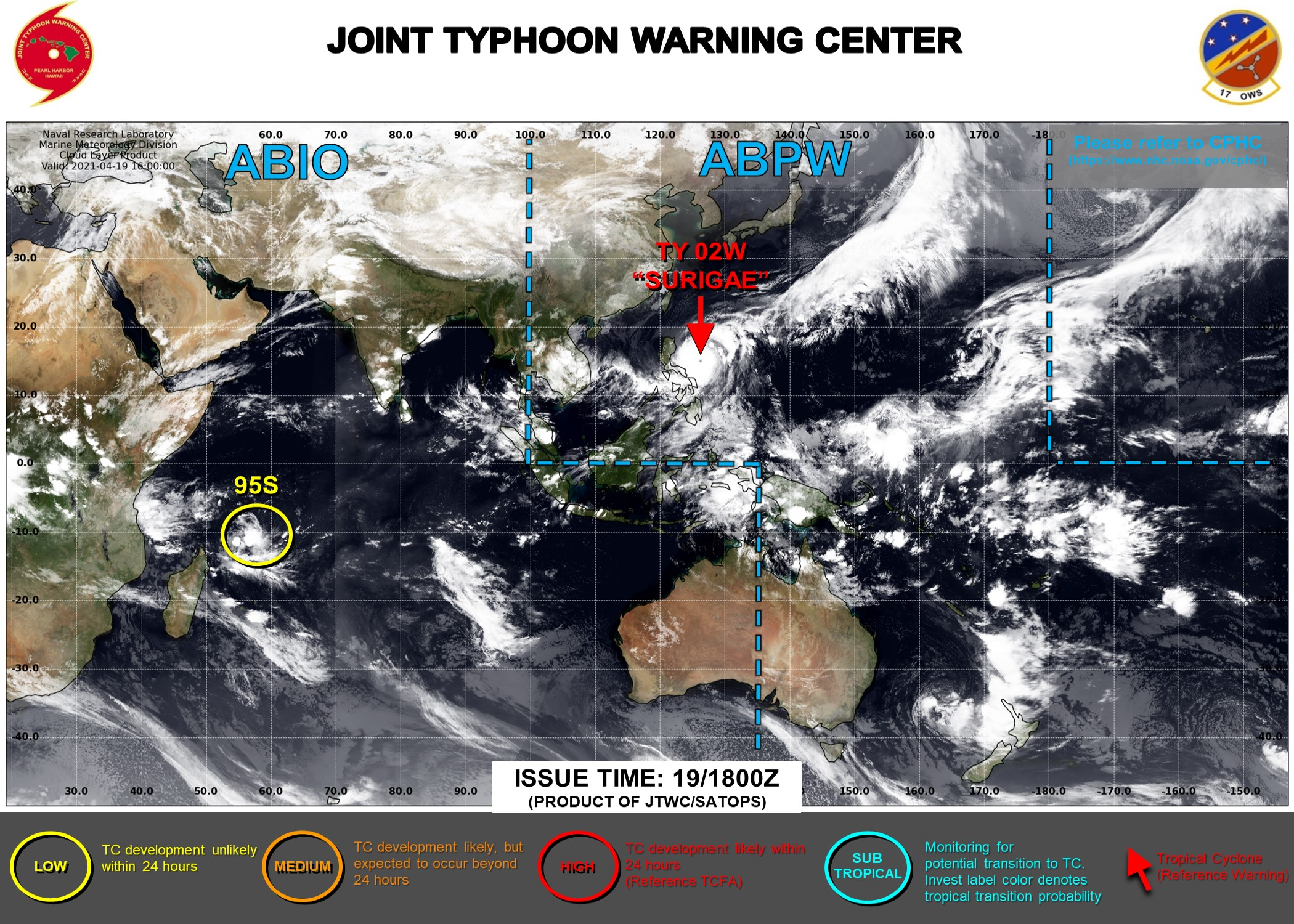 19/21UTC. THE JTWC HAS BEEN ISSUING 6HOURLY WARNINGS ON 02W(SURIGAE) AND 3HOURLY SATELLITE BULLETINS. OVER THE SOUTH IDNIAN OCEAN INVEST 95S IS STILL ASSESSED AS HAVING LOW CHANCES OF REACHING 35KNOTS WITHIN THE NEXT 24HOURS.