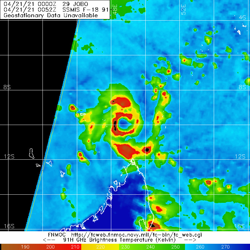 29S(JOBO). 21/0052UTC. MICROWAVE IMAGE SHOWED A RING OF DEEP CONVECTION ABOUT 95 KM IN DIAMETER  WRAPPING AROUND 80% OF THE CIRCULATION, FORMING A WELL-DEFINED EYE- LIKE FEATURE.