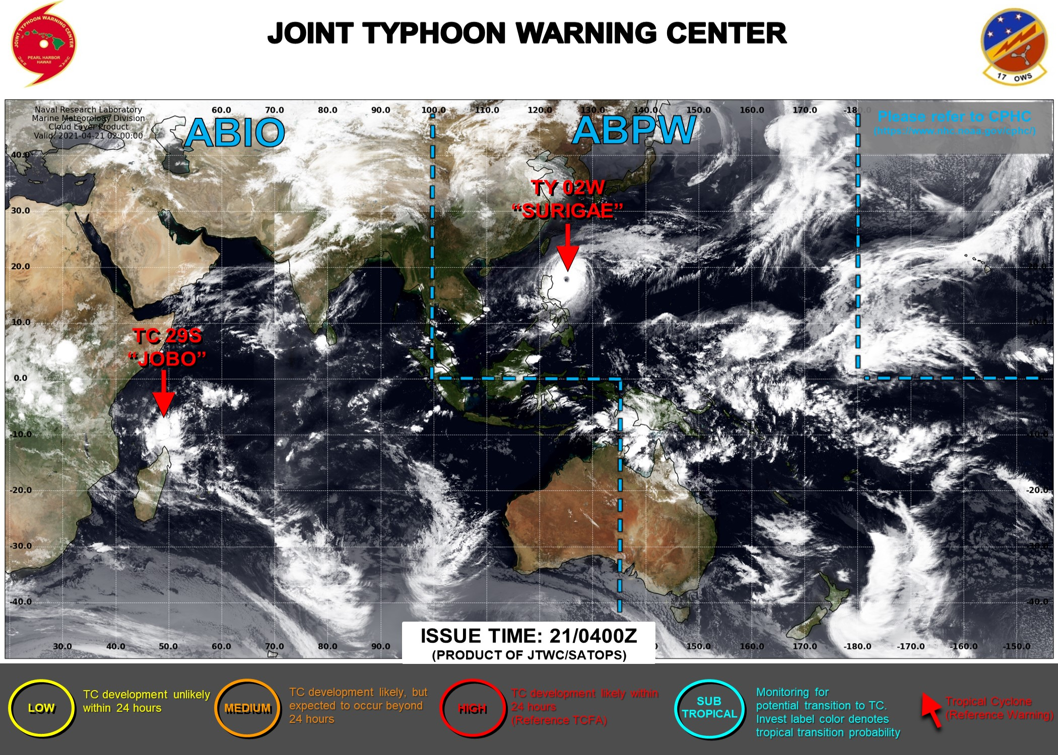 21/04UTC. THE JTWC IS ISSUING 6HOURLY WARNINGS ON 02W(SURIGAE AND 12HOURLY WARNINGS ON 29S(JOBO). 3HOURLY SATELLITE BULLETINS ARE ISSUED FOR BOTH SYSTEMS.