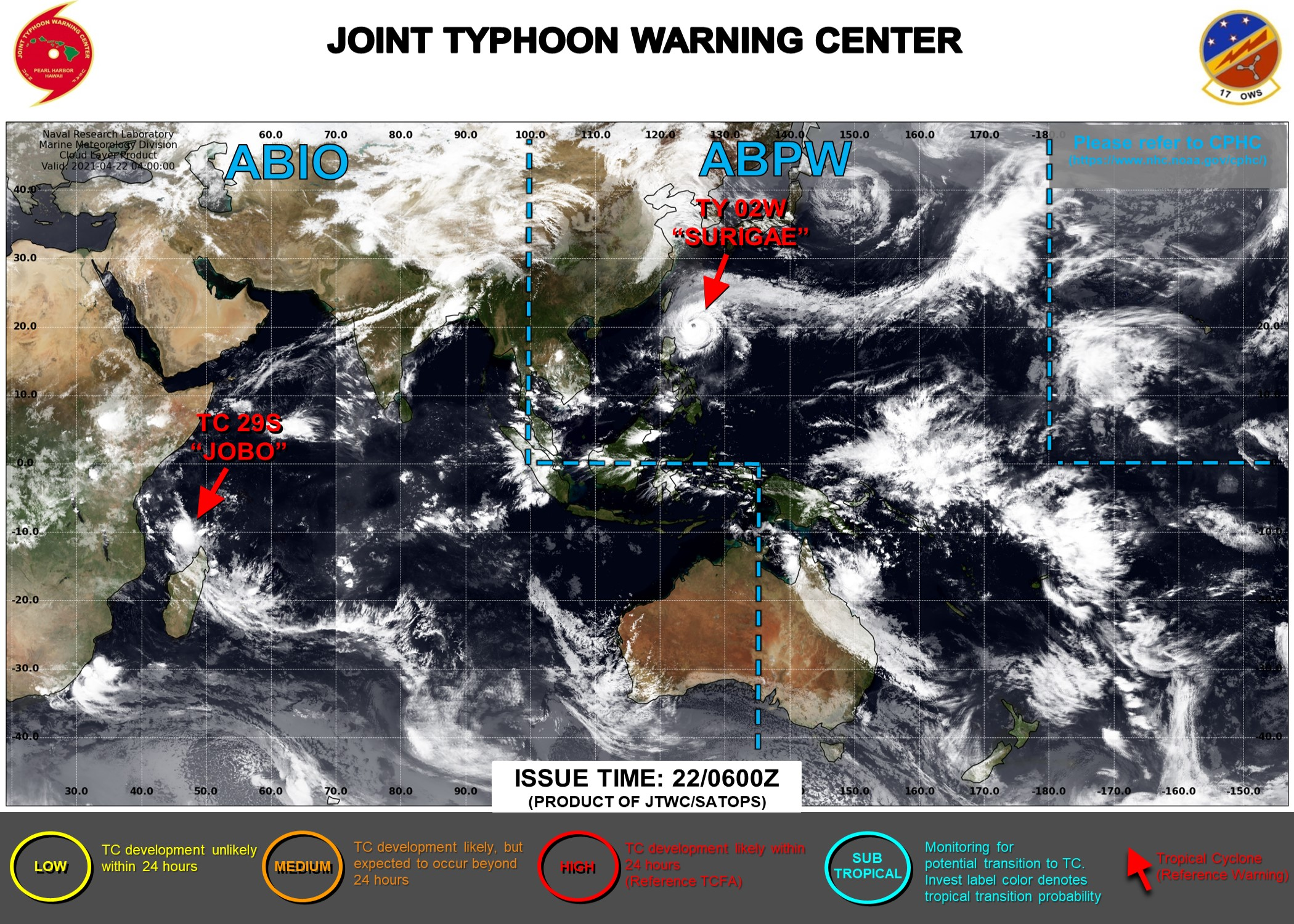 22/06UTC. THE JTWC IS ISSUING 6HOURLY WARNINGS ON 02W(SURIGAE AND 12HOURLY WARNINGS ON 29S(JOBO). 3HOURLY SATELLITE BULLETINS ARE ISSUED FOR BOTH SYSTEMS.