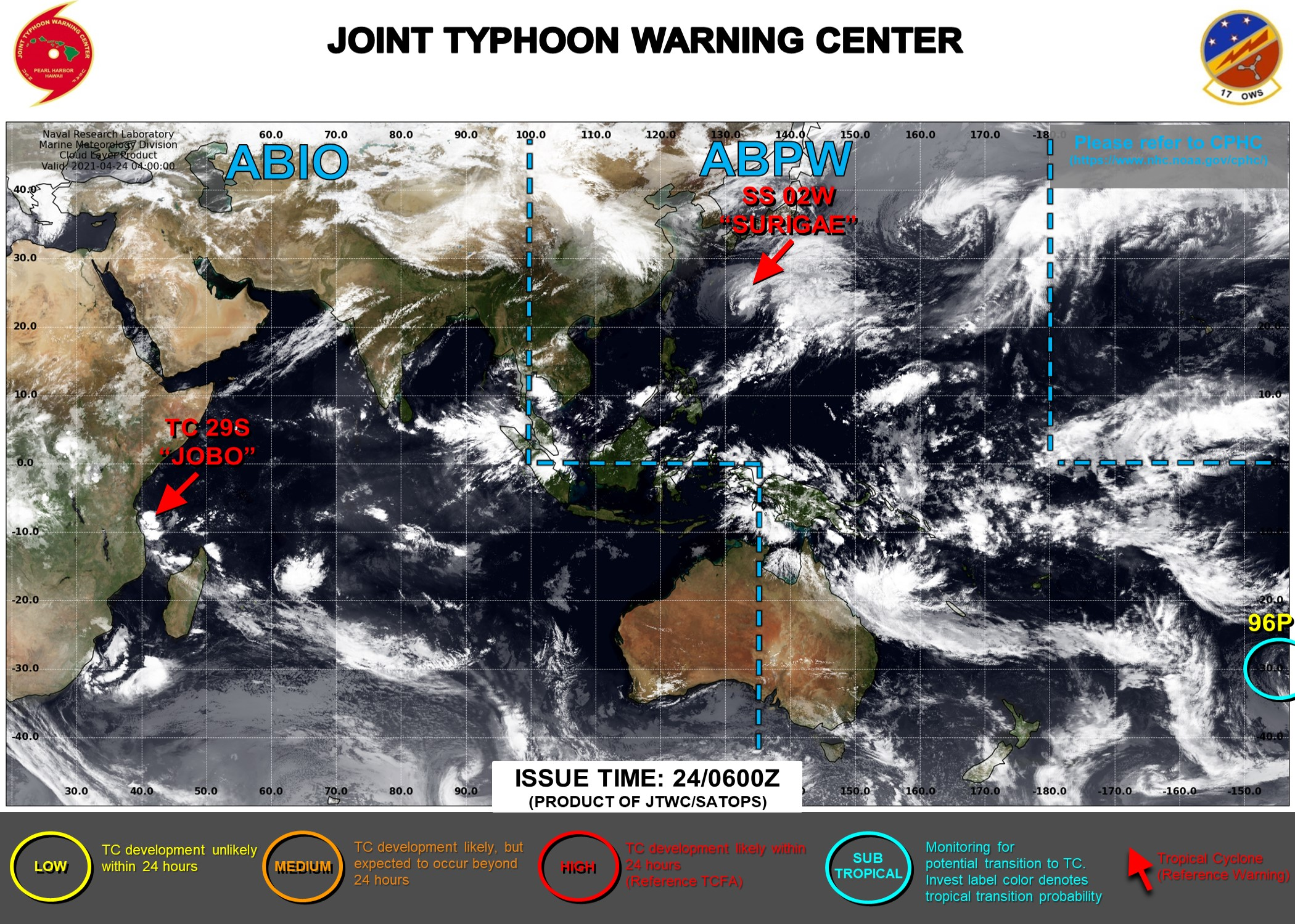 24/06UTC. THE JTWC IS ISSUING 6HOURLY WARNINGS ON 02W(SURIGAE) AND 12HOURLY WARNINGS ON 29S(JOBO). 3HOURLY SATELLITE BULLETINS ARE ISSUED FOR BOTH SYSTEMS. INVEST 96P(35KNOT SUSTAINED WINDS) IS ANALYZED AS A SUBTROPICAL SYSTEM HAVING LOW CHANCES OF TRANSITIONING INTO A TROPICAL SYSTEM.