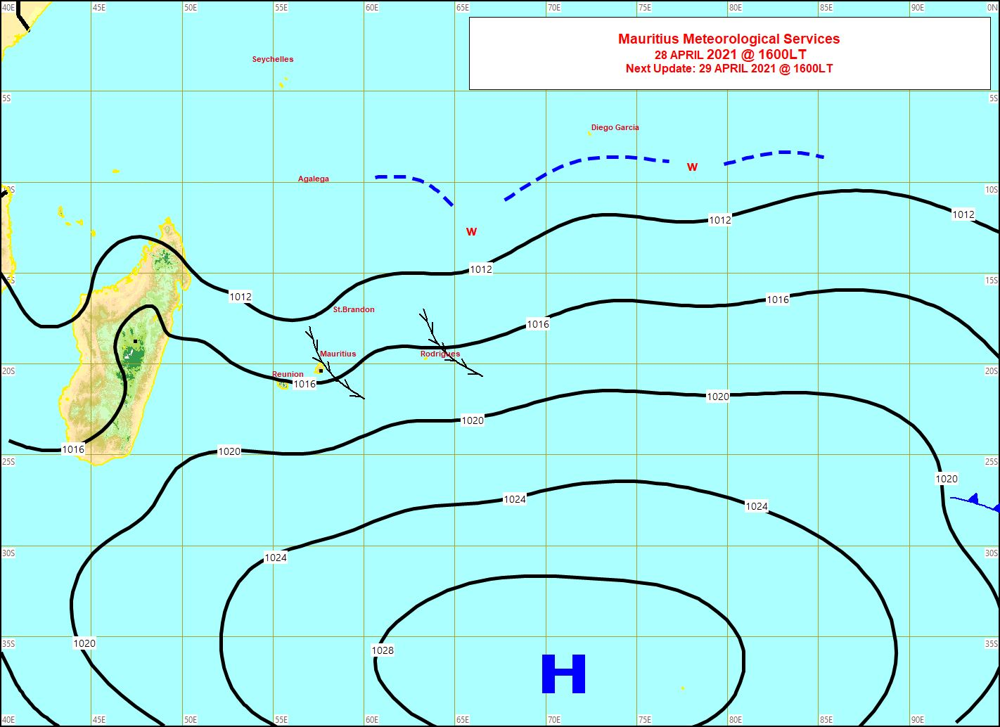 28/16heures. Analyse de la situation de surface. MMS/Vacoas.