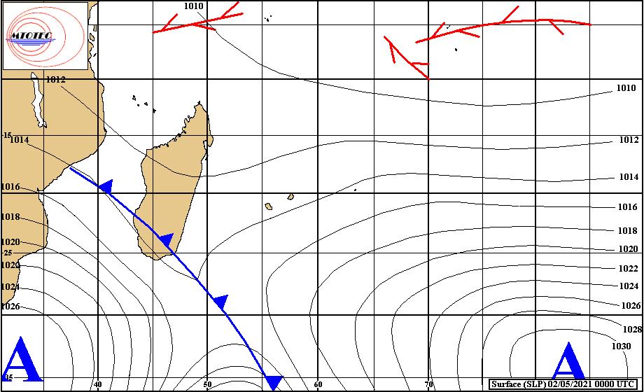 Analyse de la situation de surface ce Dimanche à 4herures. Un front instable s'étend du Mozambique au Sud de MADA avec une activité orageuse au Sud-Est de la Grande ILE. MTOTEC.