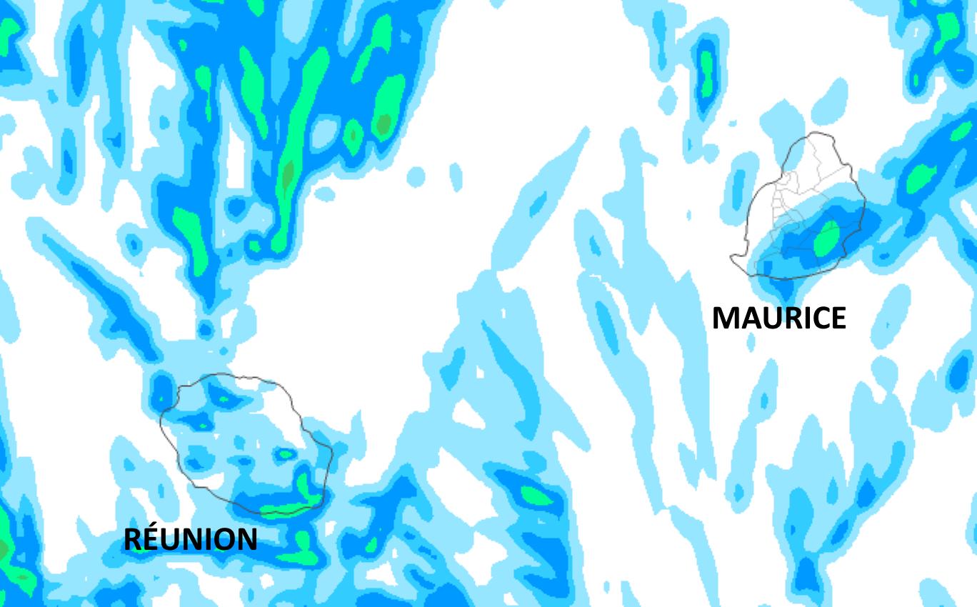 Le temps est plutôt sec et lumineux. Néanmoins le Sud sauvage de la RÉUNION et le Sud-Est de MAURICE essuient quelques épisodes pluvieux au cours de ces prochaines 36heures étant directement exposés au flux de Sud puis de Sud-Est. On note aussi quelques averses possibles par débordement l'après-midi sur les pentes du Nord-Ouest et du Sud-Ouest Réunionnais ou de manière plus isolée dans l'intérieur. Le risque de fortes averses est quasiment nul. Simulation de l'accumulation de précipitations du modèle Arome sur 42heures jusqu'à Dimanche 16heures. MFRANCE. MCIEL.