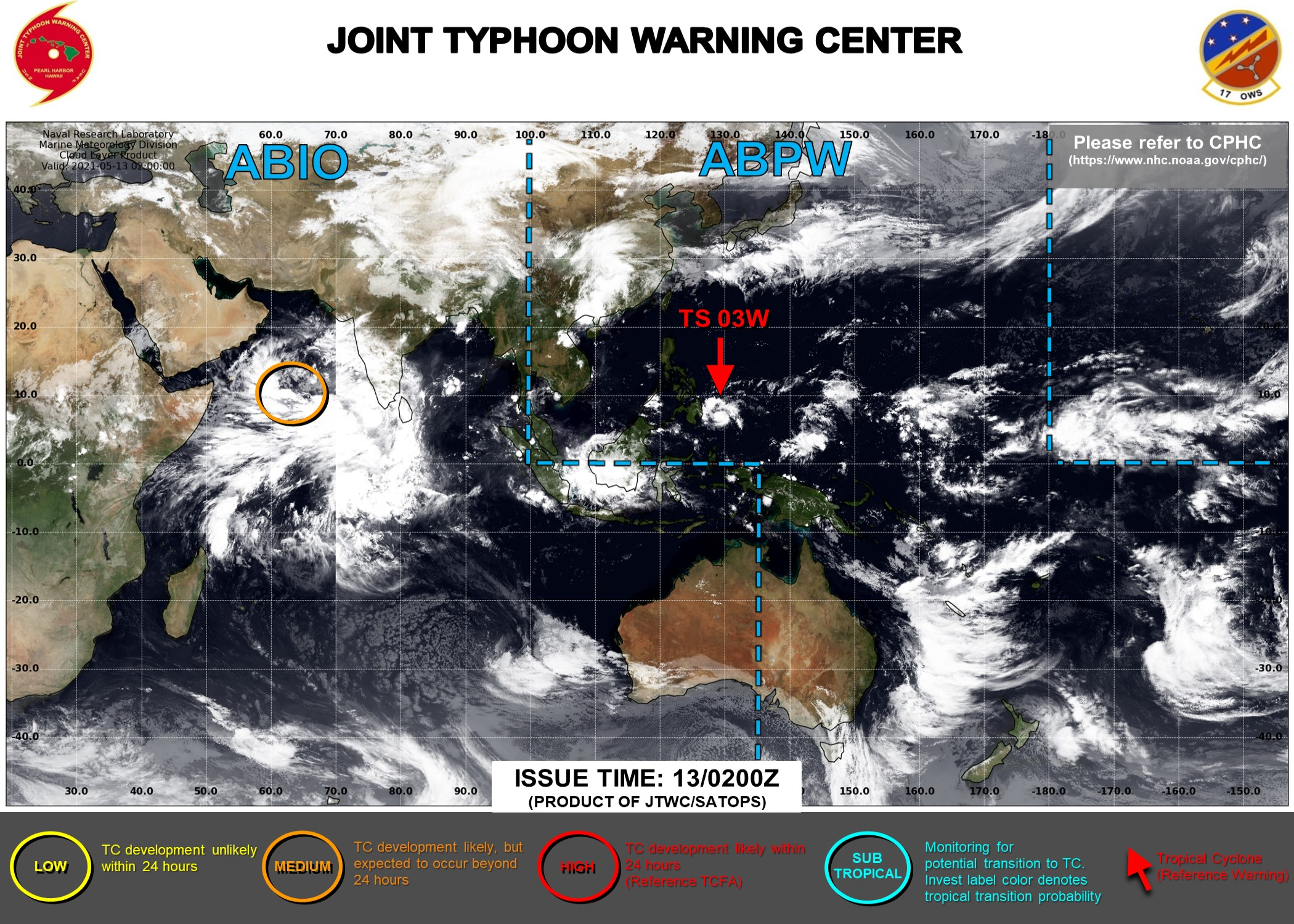 13/03UTC.JTWC IS ISSUING 6HOURLY WARNINGS AND 3HOURLY SATELLITE BULLETINS ON 03W. INVEST 92A REMAINS MEDIUM: MODERATE CHANCES OF HAVING 35KNOT WINDS NEAR ITS CENTER WITHIN 24HOURS.
