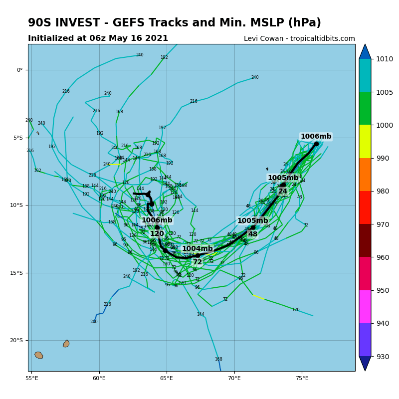 INVEST 90S. ANALYSIS INDICATES A FAVORABLE ENVIRONMENT FOR  DEVELOPMENT CHARACTERIZED BY POLEWARD OUTFLOW AND VERY WARM (30-31C)  SEA SURFACE TEMPERATURES MARGINALLY OFFSET BY LOW TO MODERATE (10- 20KT) VERTICAL WIND SHEAR (VWS). GLOBAL MODELS GENERALLY AGREE THAT  INVEST 90S WILL PROPAGATE SOUTHWESTWARD WHILE REMAINING ELONGATED  WITH A MARGINAL STRENGTHENING OF WINDS IN THE SOUTHERN PERIPHERY.