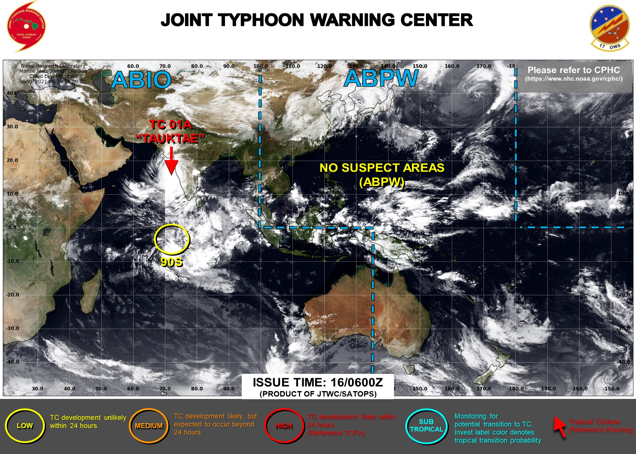 JTWC IS ISSUING 6HOURLY WARNINGS ON TC 01A AND 3HOURLY SATELLITE BULLETINS. INVEST 90S IS NOW ON THE MAP: LOW CHANCES OF HAVING 35KNOT WINDS CLOSE TO ITS CENTER WITHIN 24HOURS.