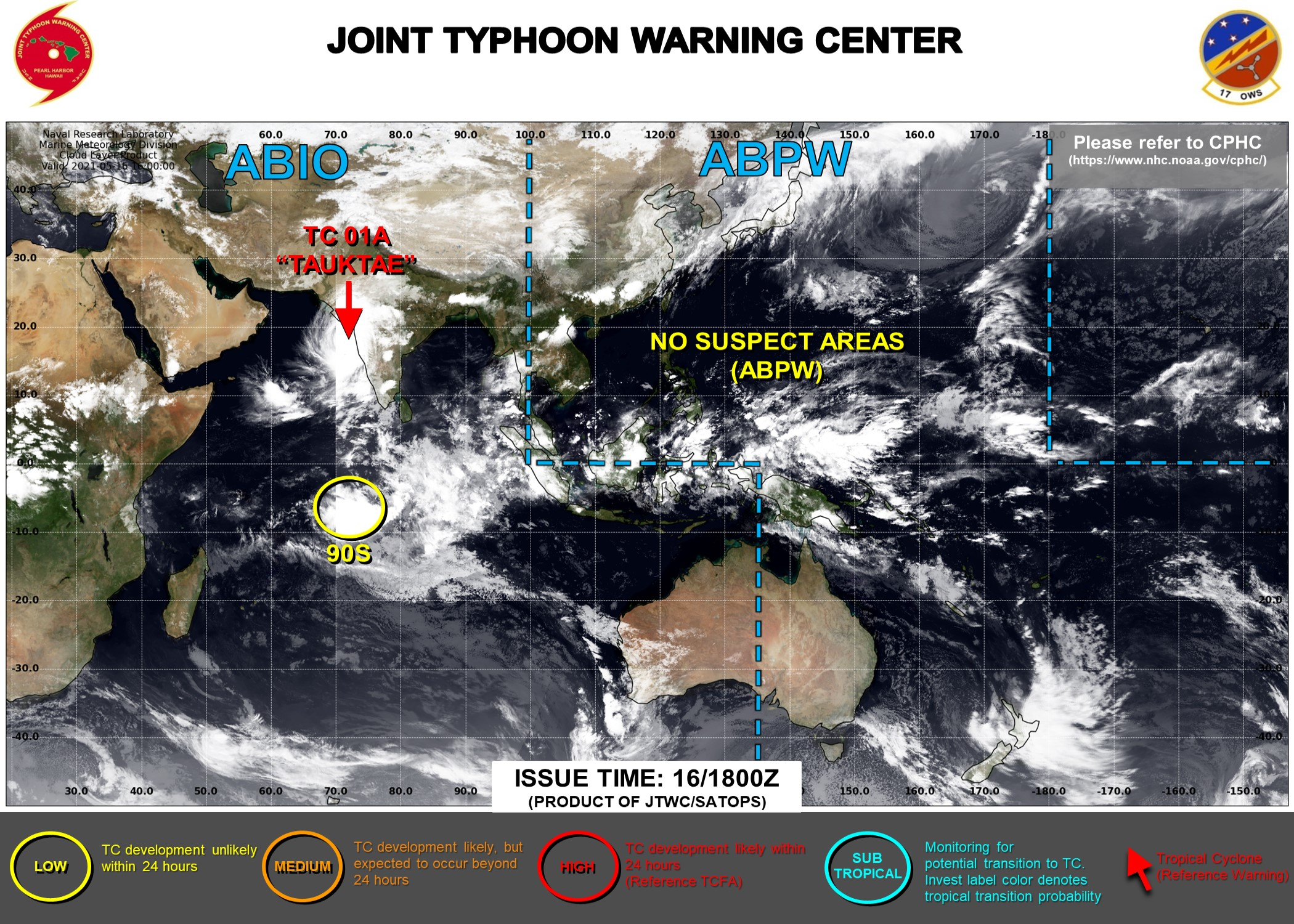 JTWC IS ISSUING 6HOURLY WARNINGS ON TC 01A AND 3HOURLY SATELLITE BULLETINS. INVEST 90S : LOW CHANCES OF HAVING 35KNOT WINDS CLOSE TO ITS CENTER WITHIN 24HOURS.