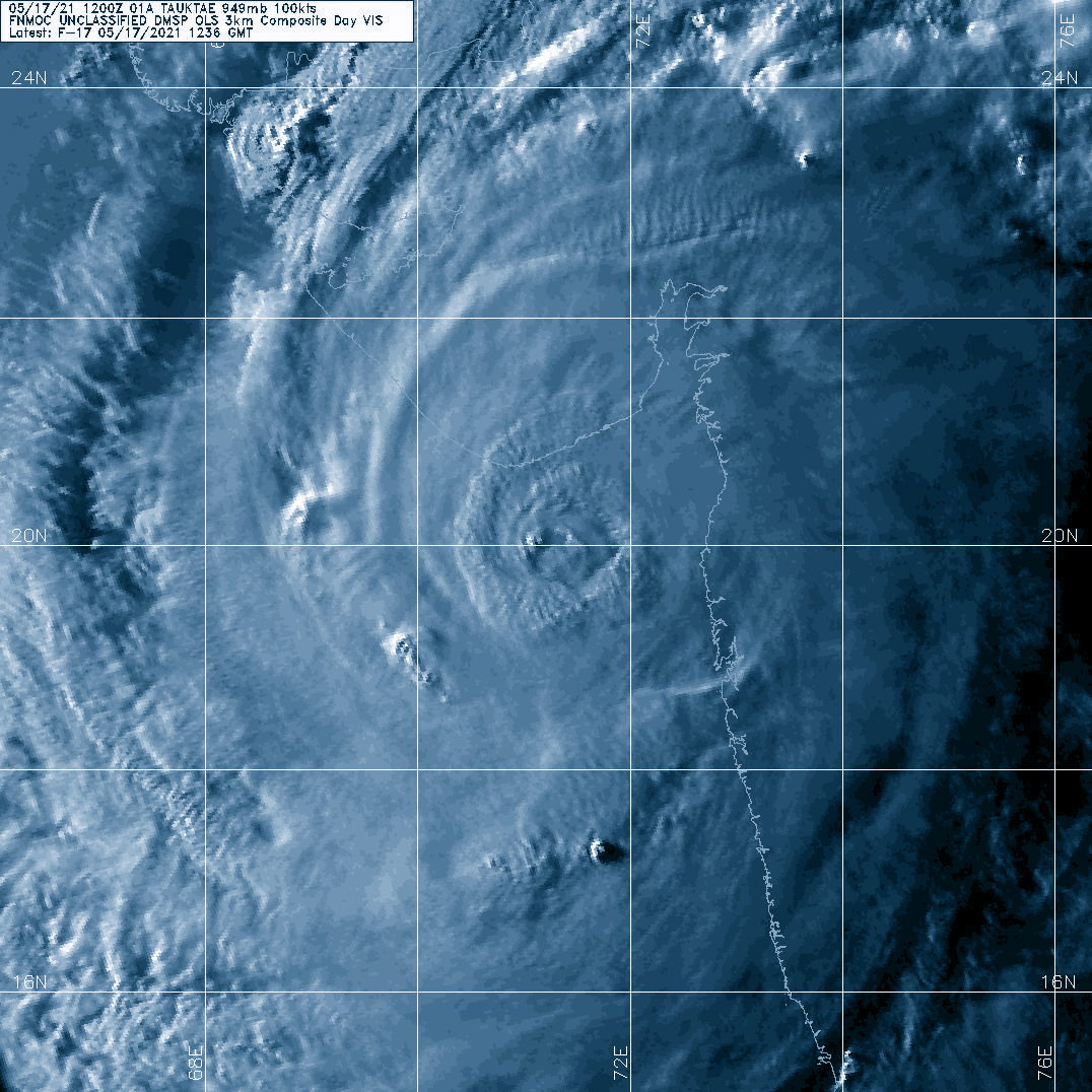 TC 01A(TAUKTAE). 17/1236UTC. DMSP VISIBLE ENHANCED. THE CLOUD-FILLING EYE IS CLOSE TO THE INDIAN COASTLINE.